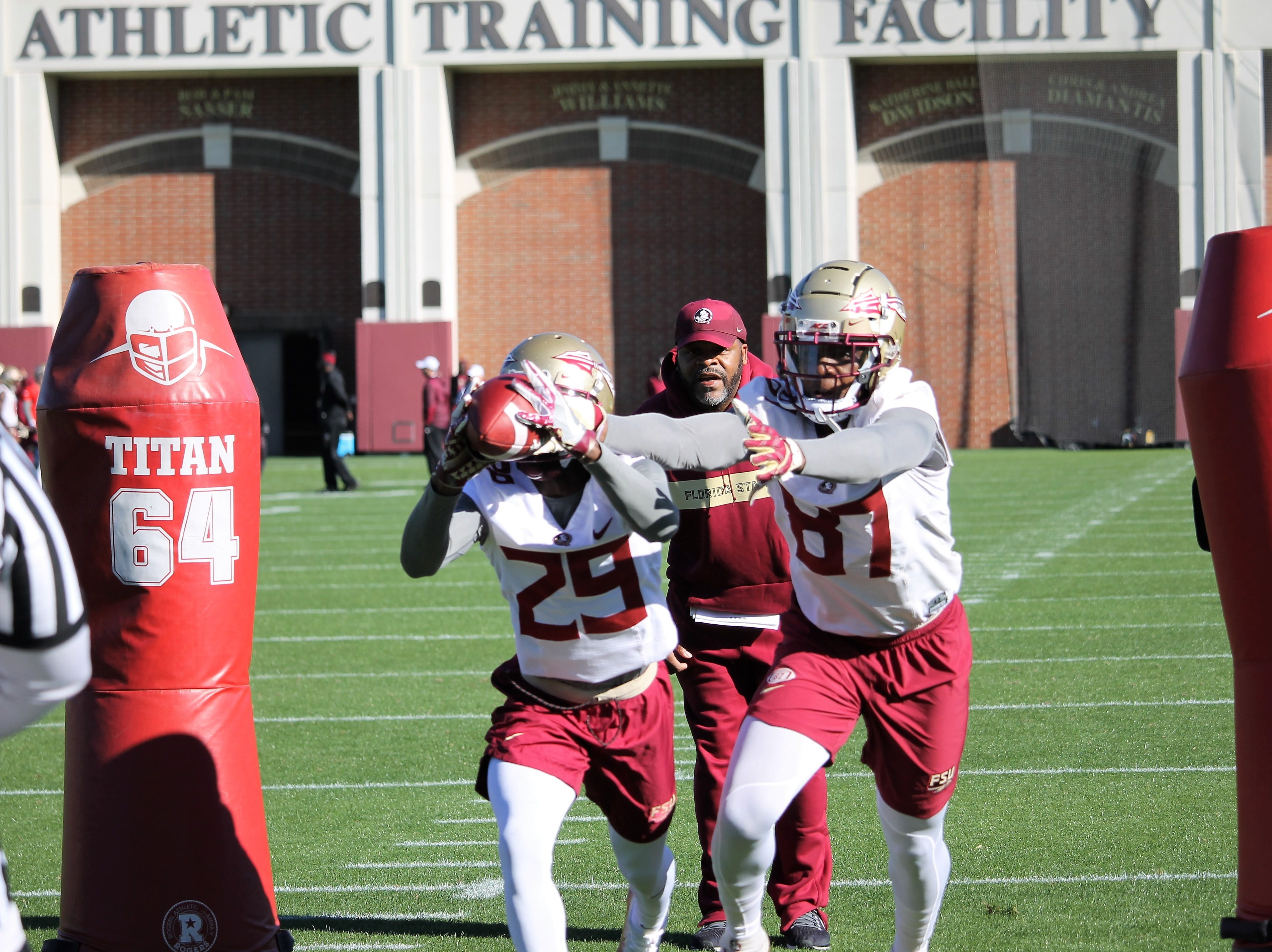 Wide receiver D.J. Matthews (29) and tight end Camm McDonald (87)at FSU football practice on March 6, 2019.