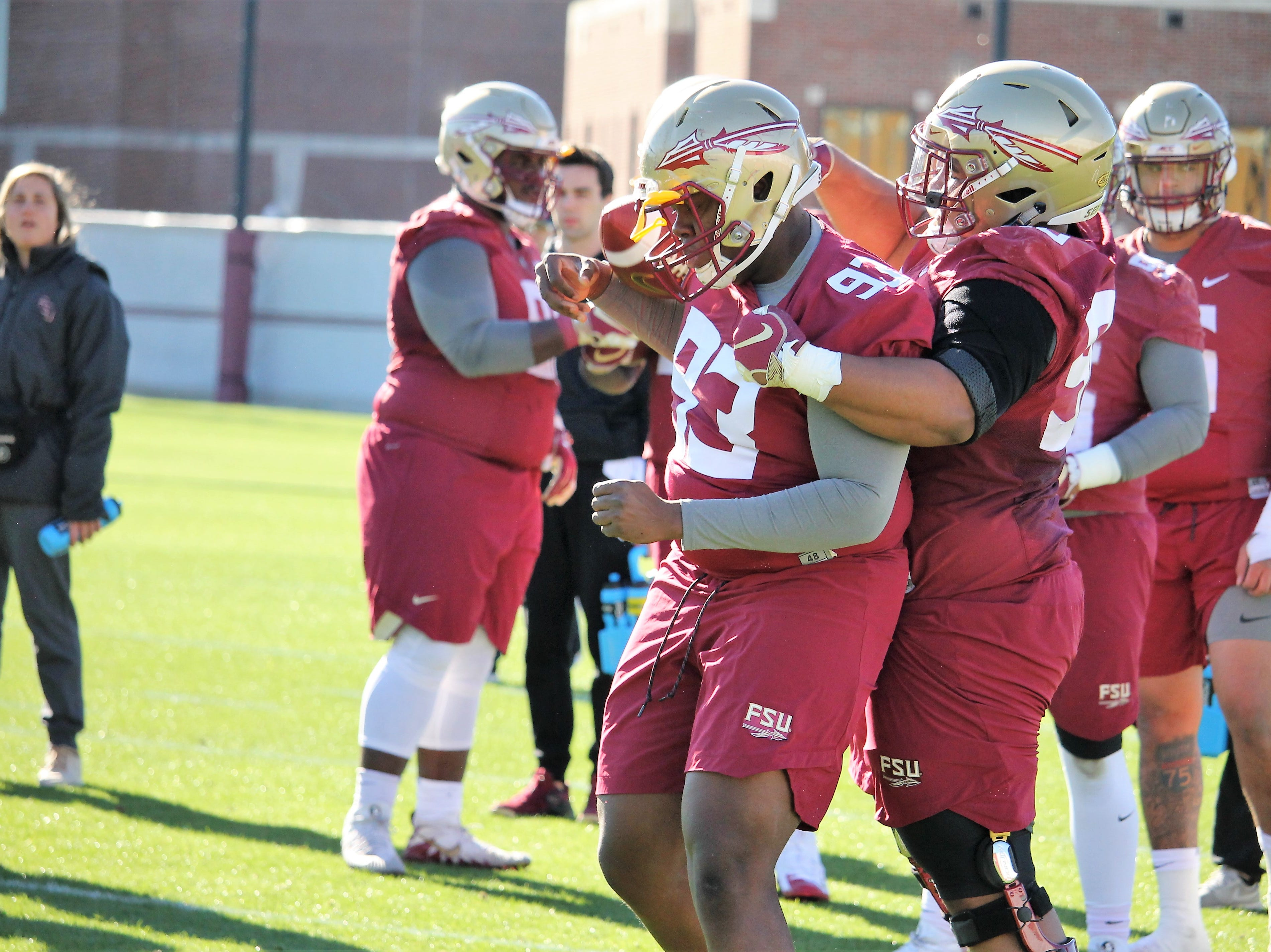 Defensive tackle Tru Thompson at FSU football practice on March 6, 2019.