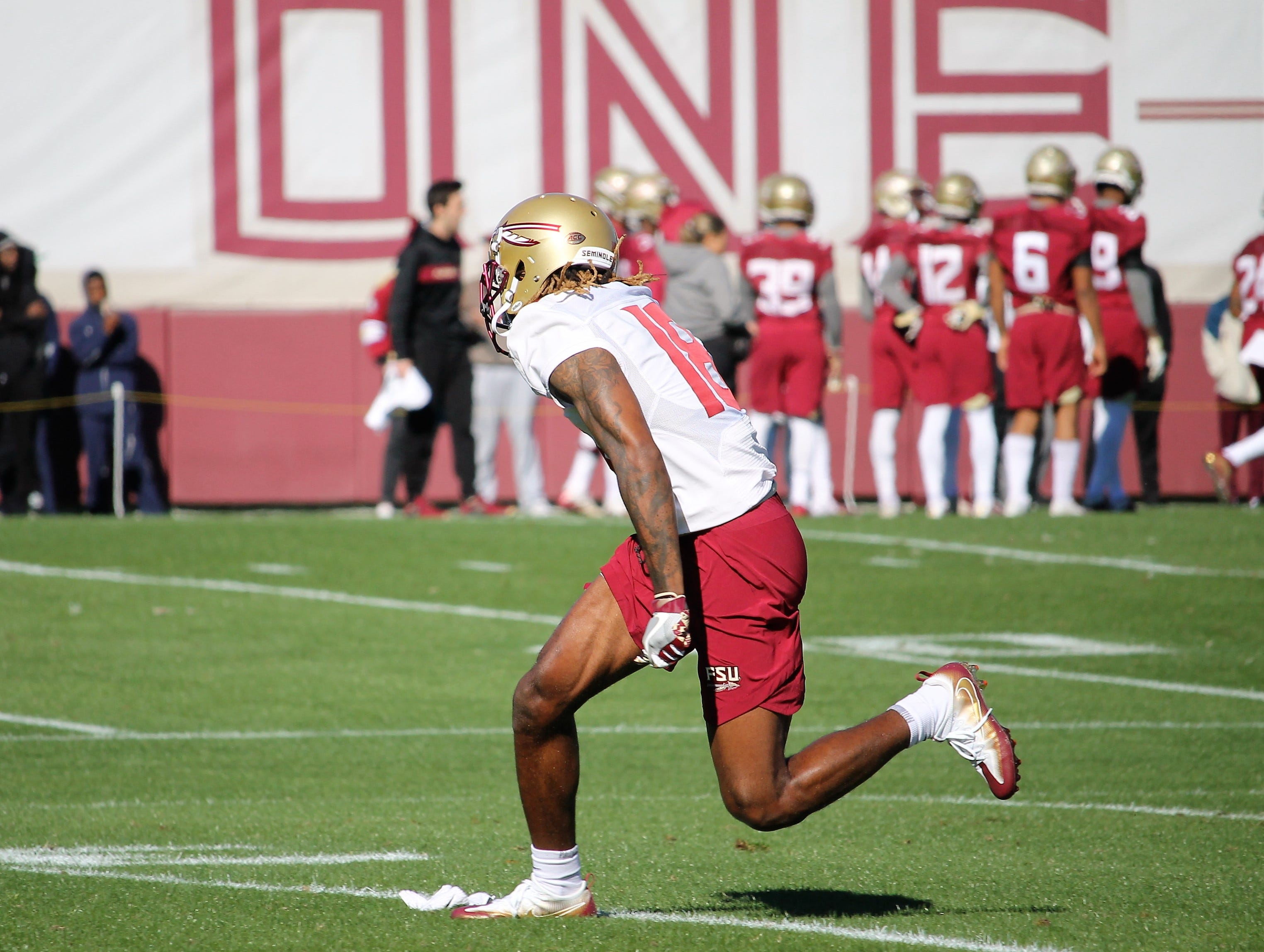 Wide receiver Warren Thompson at FSU football practice on March 6, 2019.