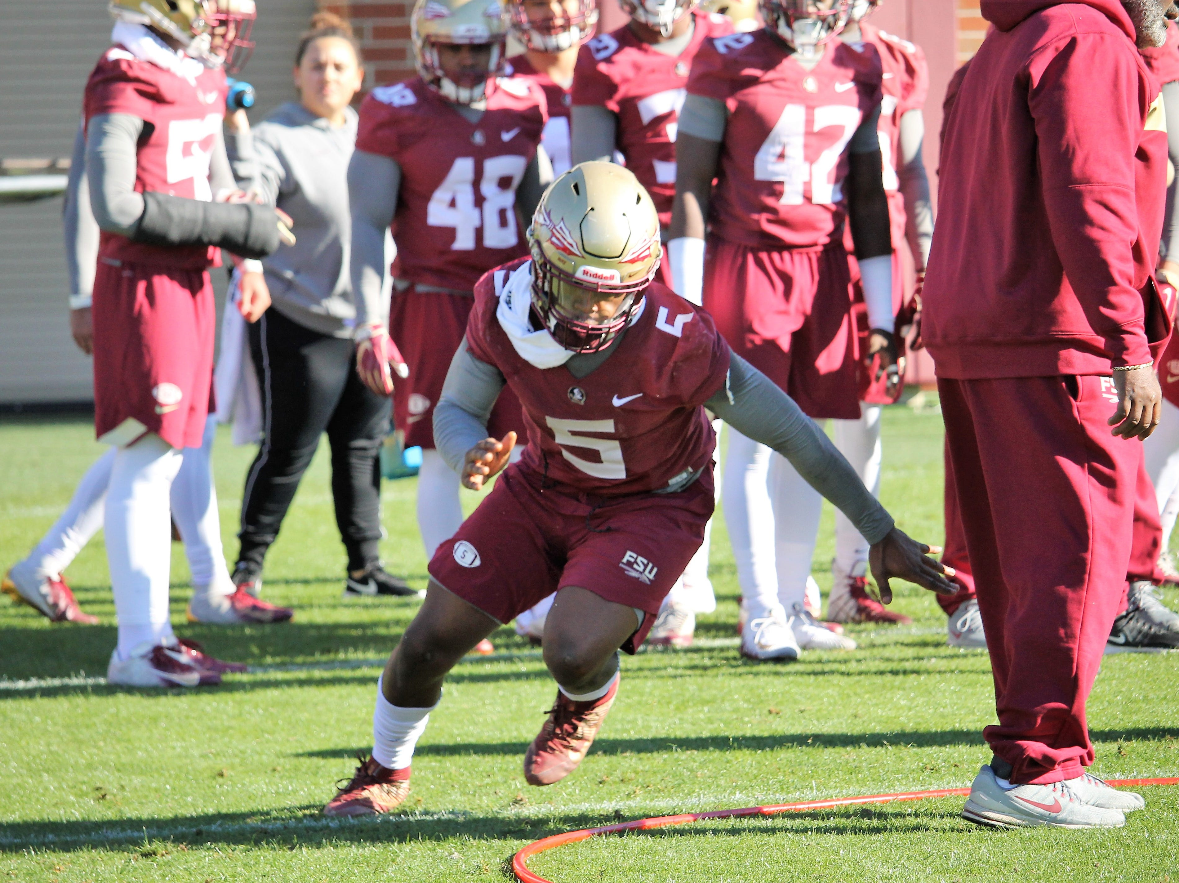 Linebacker Dontavious Jackson at FSU football practice on March 6.