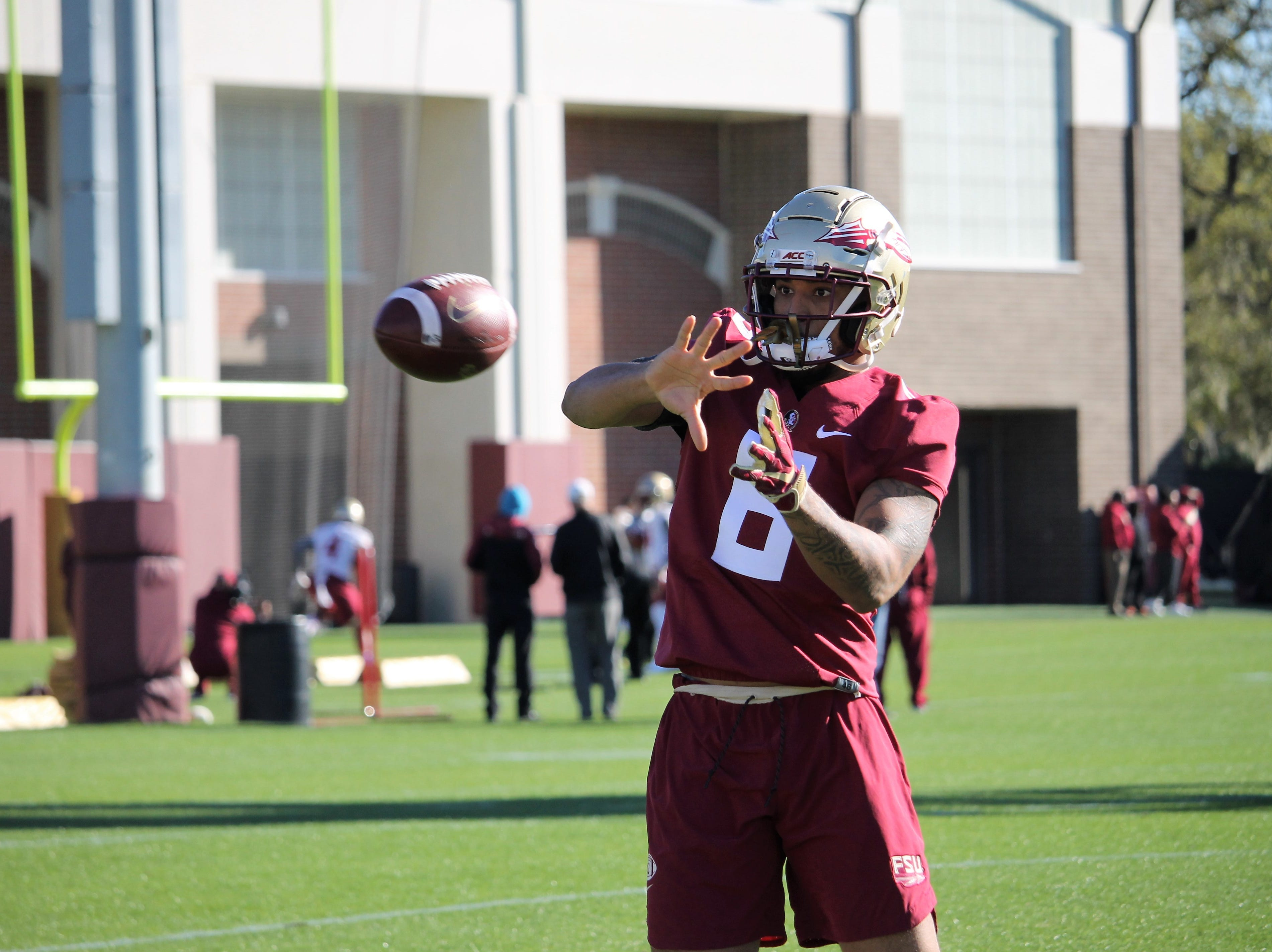 Safety Jaiden Woodbey at FSU football practice on March 6, 2019.