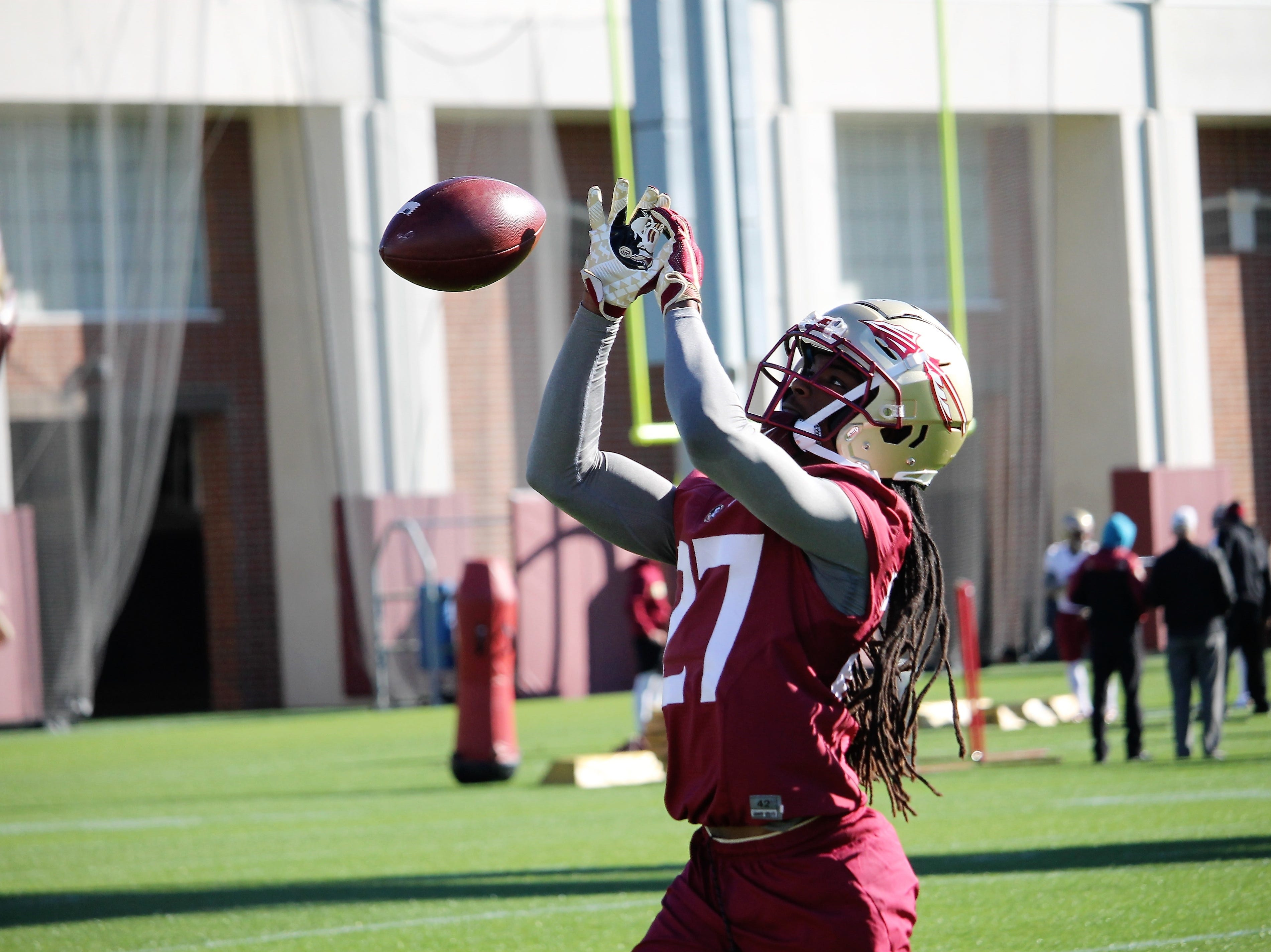Defensive back Akeem Dent at FSU football practice on March 6, 2019.