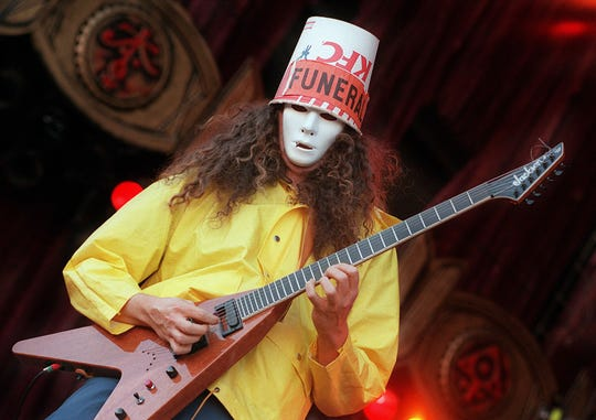 """The guitar showman known as """"Buckethead"""" gives us a taste of his music Thursday at The Wilbury."""