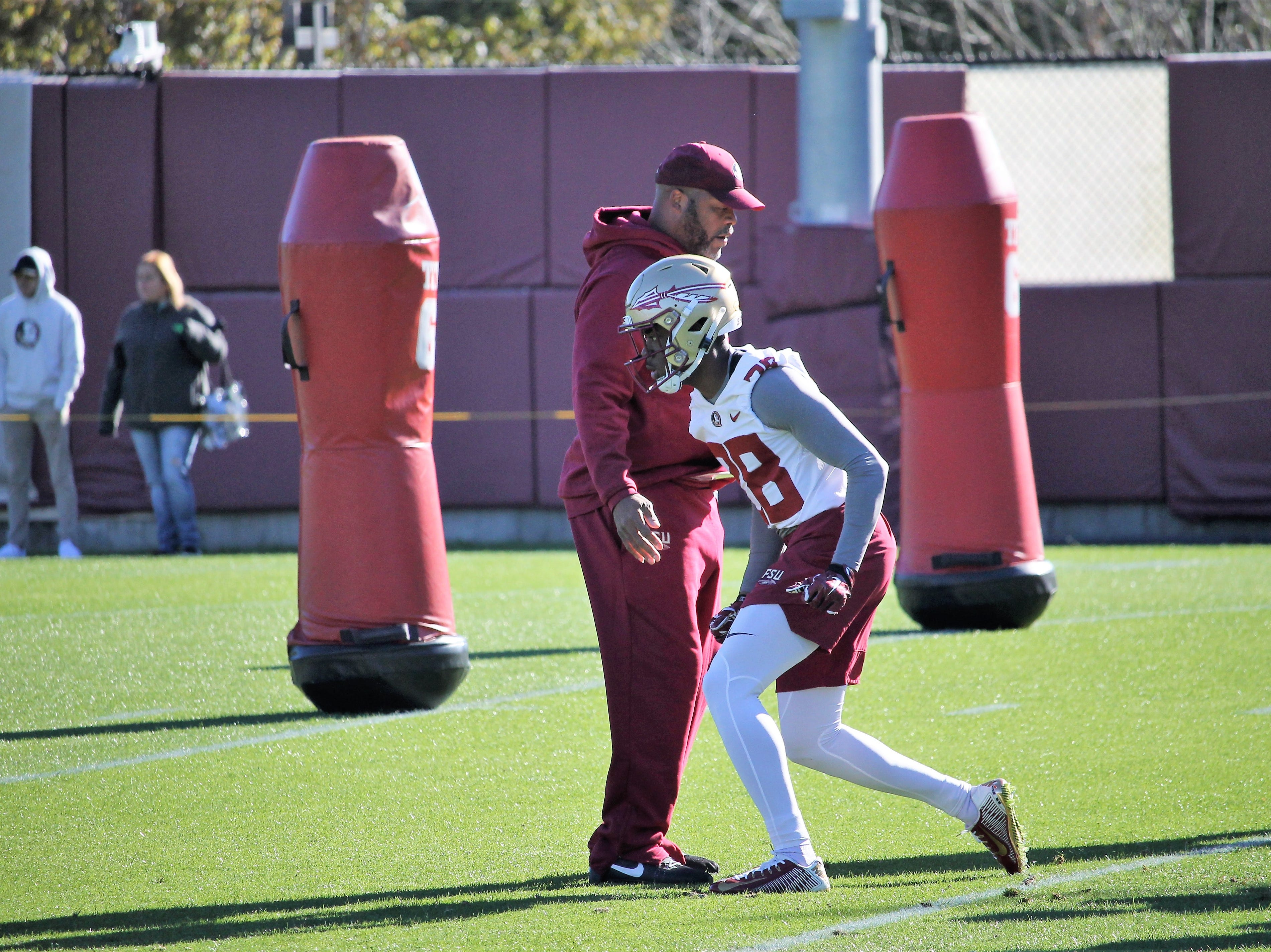 Wide receiver D'Marcus Adams at FSU football practice on March 6, 2019.