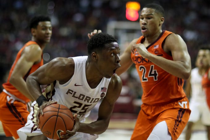 Florida State Seminoles forward Mfiondu Kabengele (25) drives to the hoop during a game between FSU and Virginia Tech at the Donald L. Tucker Civic Center Tuesday, March 5, 2019.