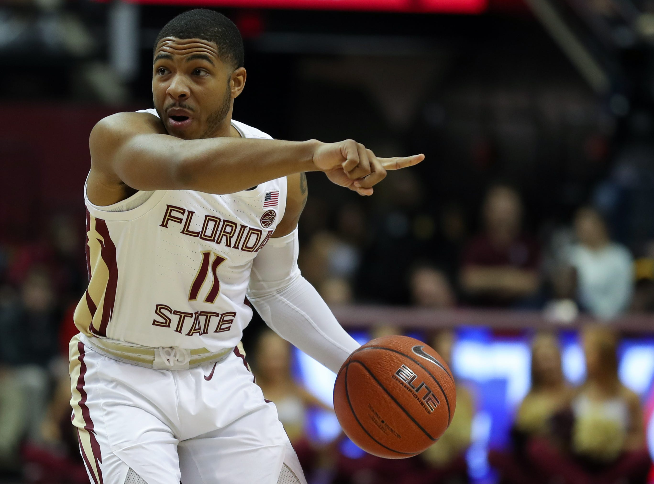 Florida State Seminoles guard David Nichols (11) calls out a play during a game between FSU and Virginia Tech at the Donald L. Tucker Civic Center Tuesday, March 5, 2019.