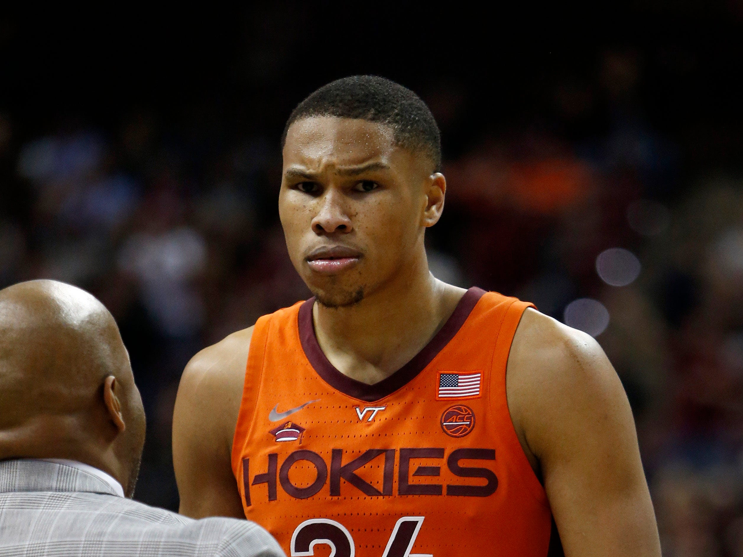 Mar 5, 2019; Tallahassee, FL, USA; Virginia Tech Hokies forward Kerry Blackshear Jr. (24) reacts after fouling out against the Florida State Seminoles during the second half at Donald L. Tucker Center. Mandatory Credit: Glenn Beil-USA TODAY Sports