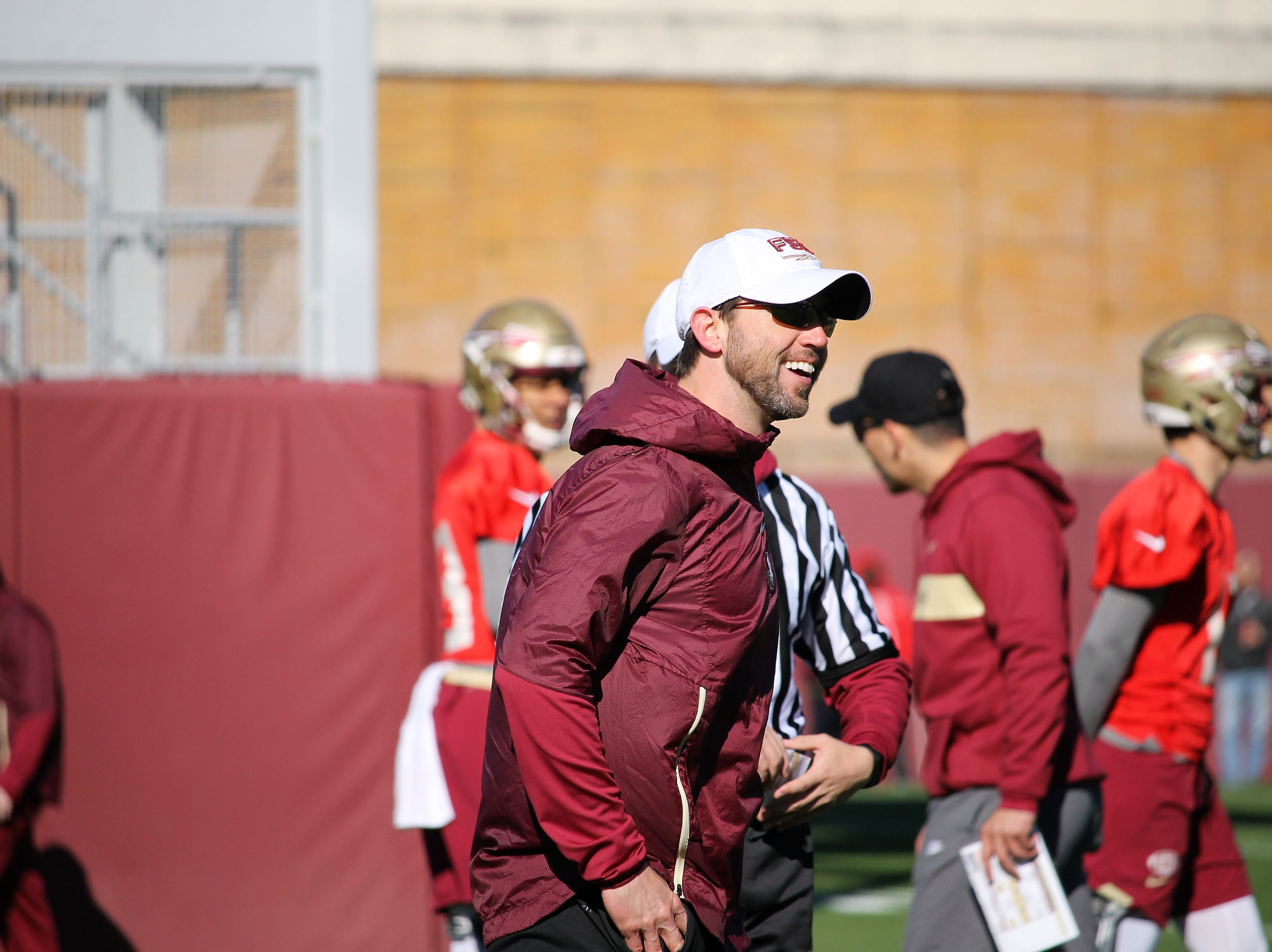 FSU offensive coordinator Kendal Briles at FSU football practice on March 6, 2019.