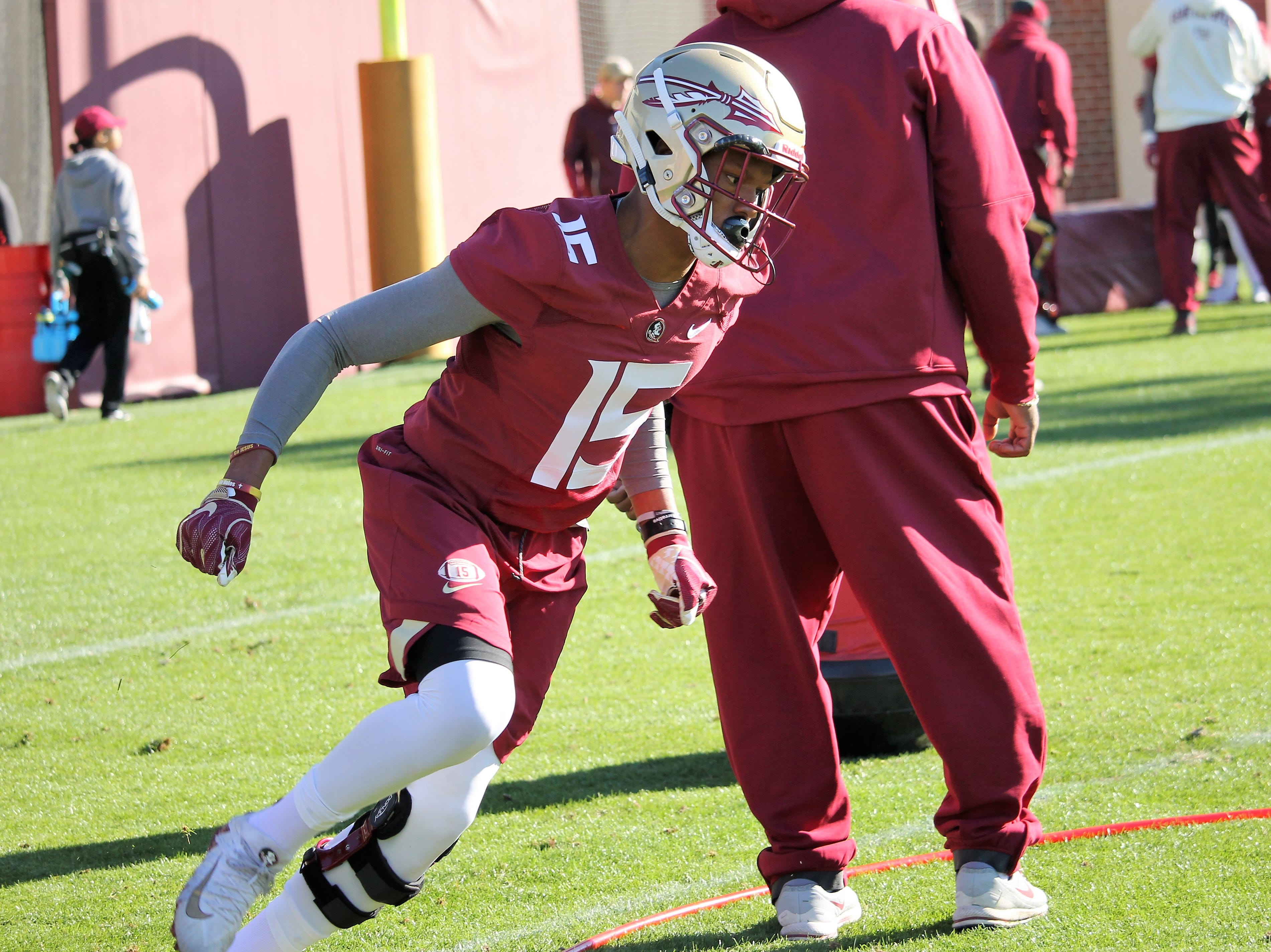 Defensive back Carlos Becker at FSU football practice on March 6, 2019.