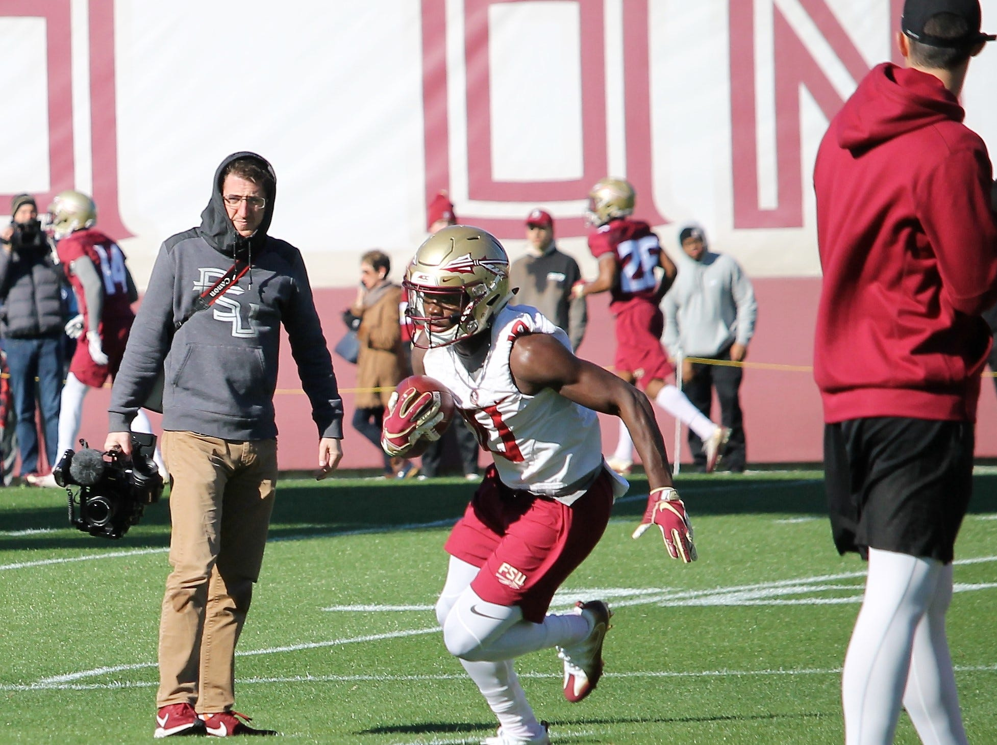 Running back Anthony Grant at FSU football practice on March 6, 2019.