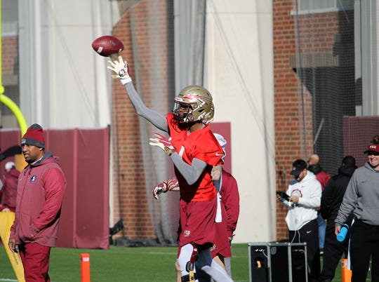 FSU QB James Blackman at FSU football practice on March 6, 2019.