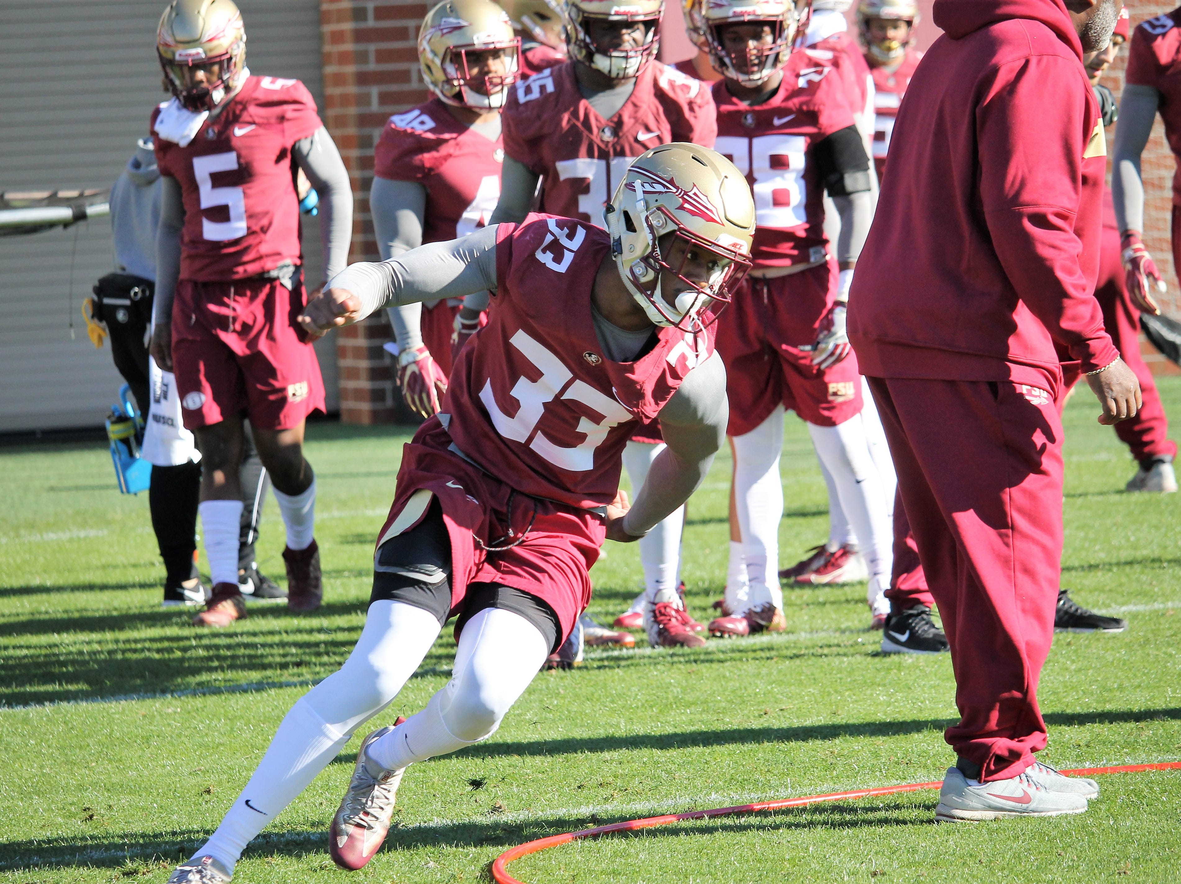 Linebacker Amari Gainer at FSU football practice on March 6, 2019.