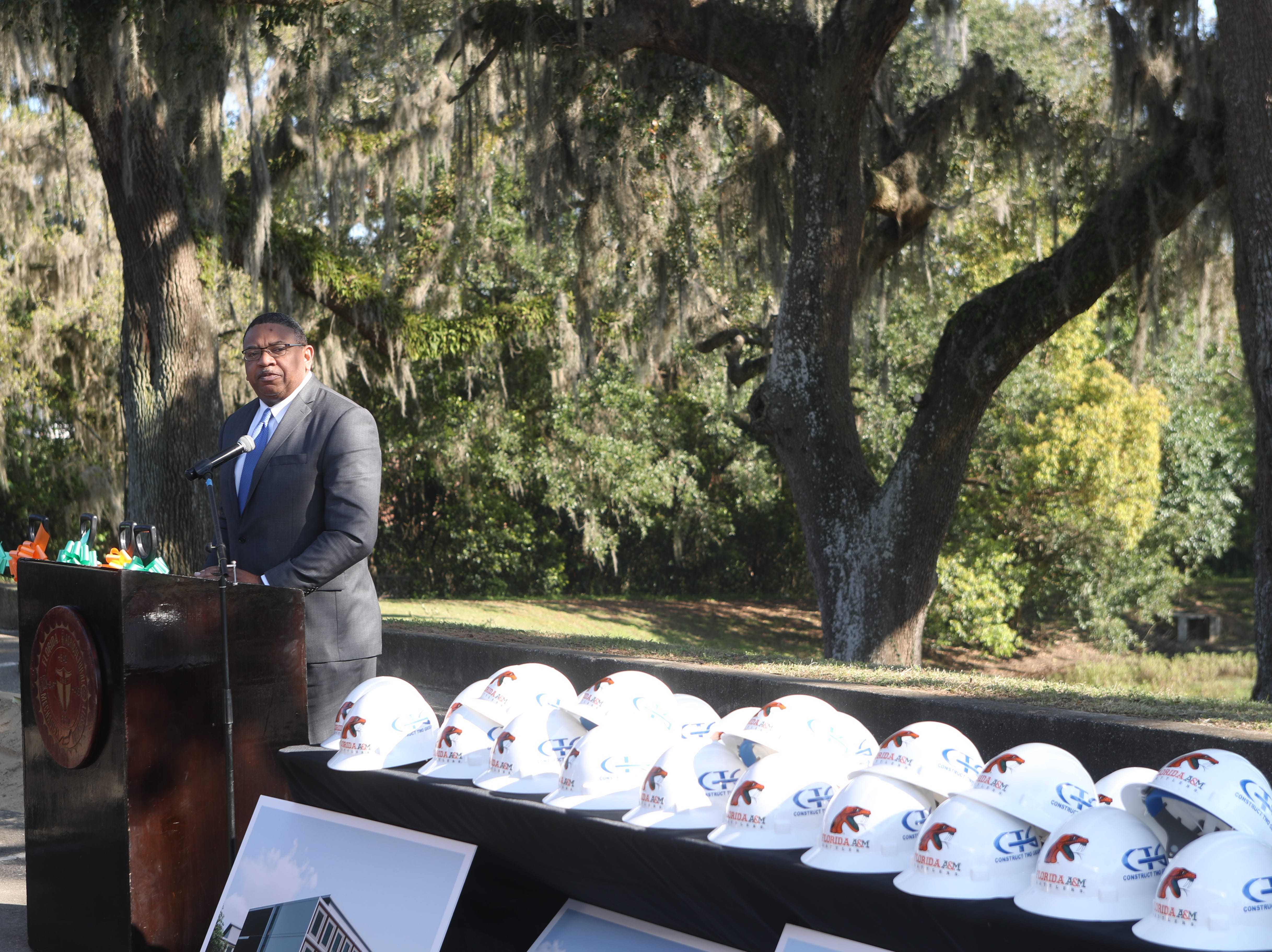 Florida A&M Board of Trustees Chair Kelvin Lawson speaks during a groundbreaking celebration for a new residence hall on the Florida A&M campus Wednesday, March 6, 2019.