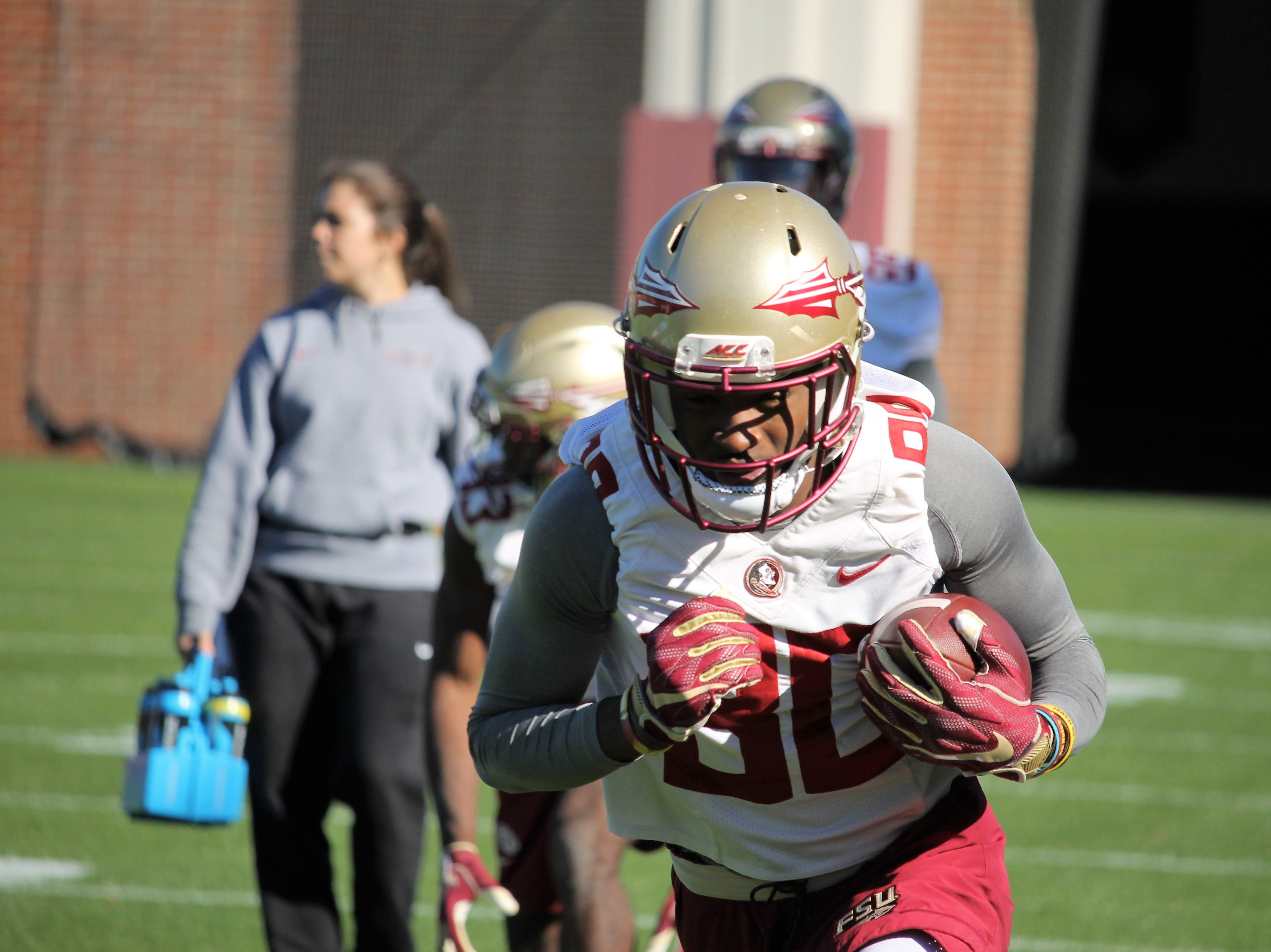 FSU wide receiver Ontaria Wilson at FSU football practice on March 6, 2019.
