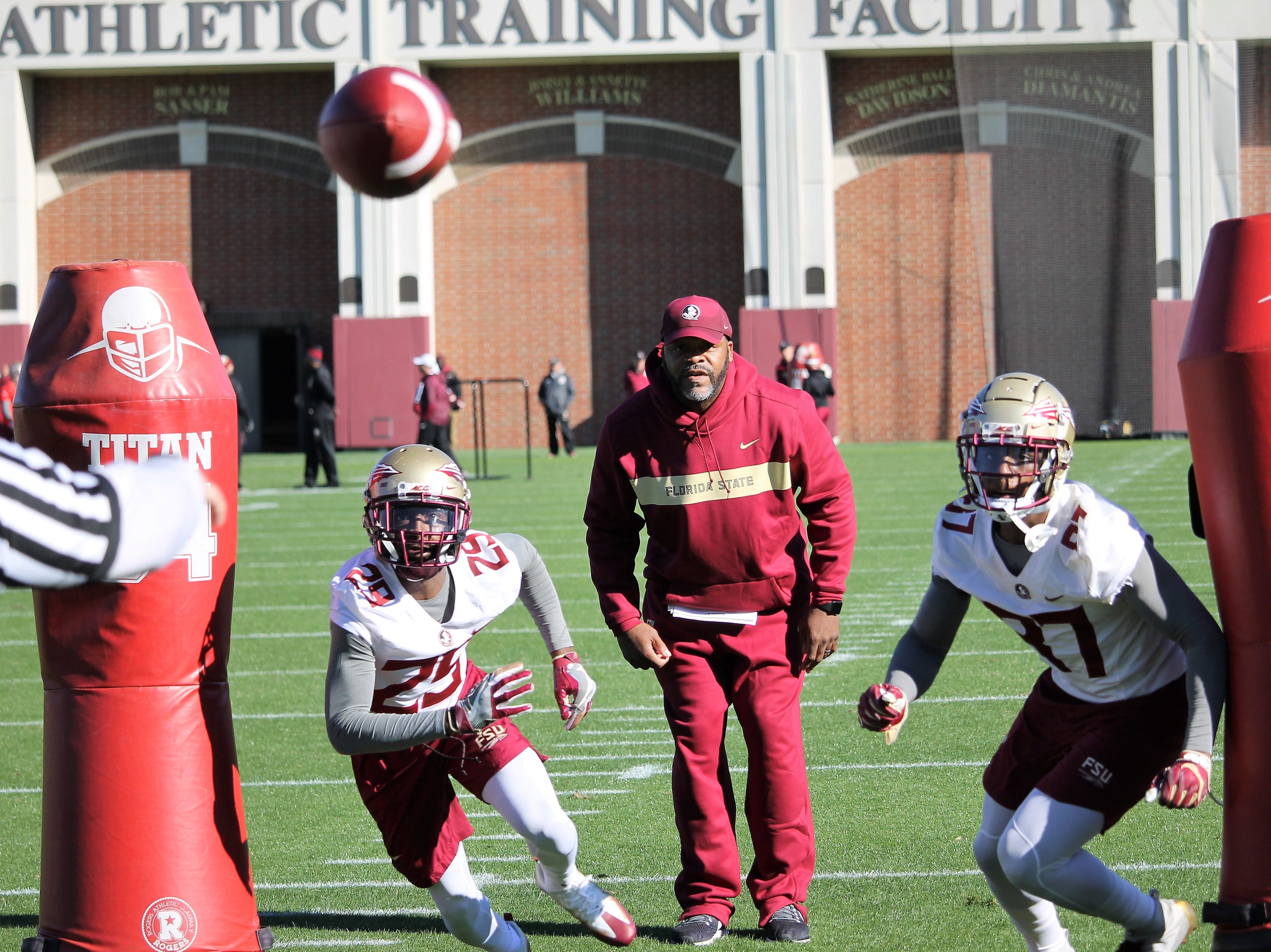 Wide receiver D.J. Matthews (29) and tight end Camm McDonald (87) at FSU football practice on March 6, 2019.