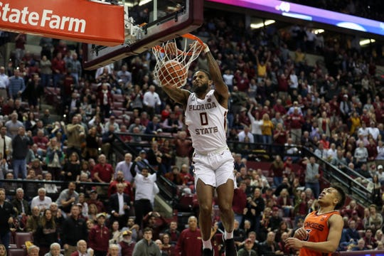 Florida State Seminoles forward Phil Cofer (0) dunks during a game between FSU and Virginia Tech at the Donald L. Tucker Civic Center Tuesday, March 5, 2019.
