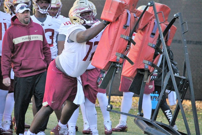 FSU offensive line coach Randy Clements works with offensive guard Mike Arnold during spring practice in 2018.