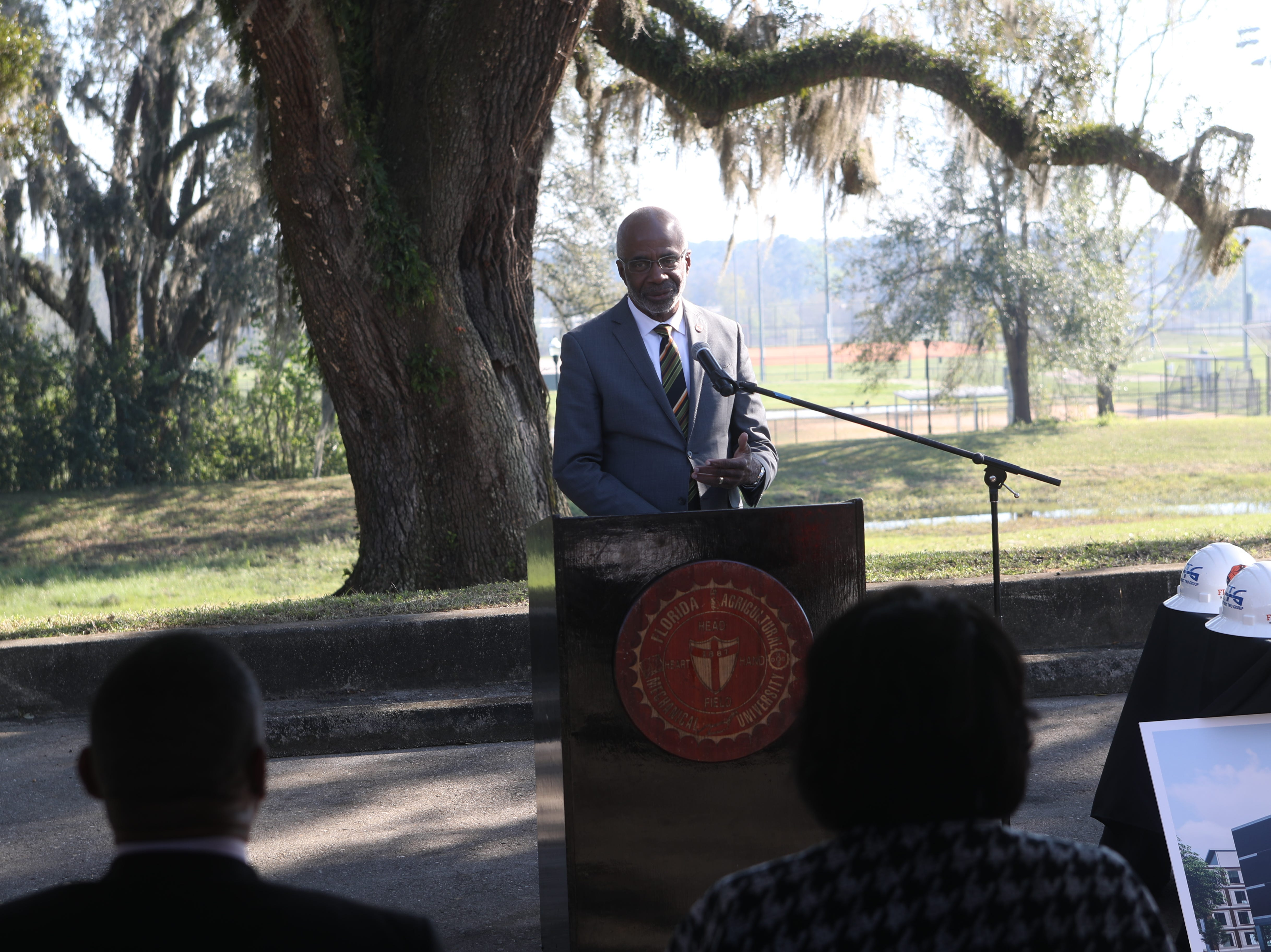 Florida A&M President Larry Robinson speaks during a groundbreaking celebration for a new residence hall on the Florida A&M campus Wednesday, March 6, 2019.