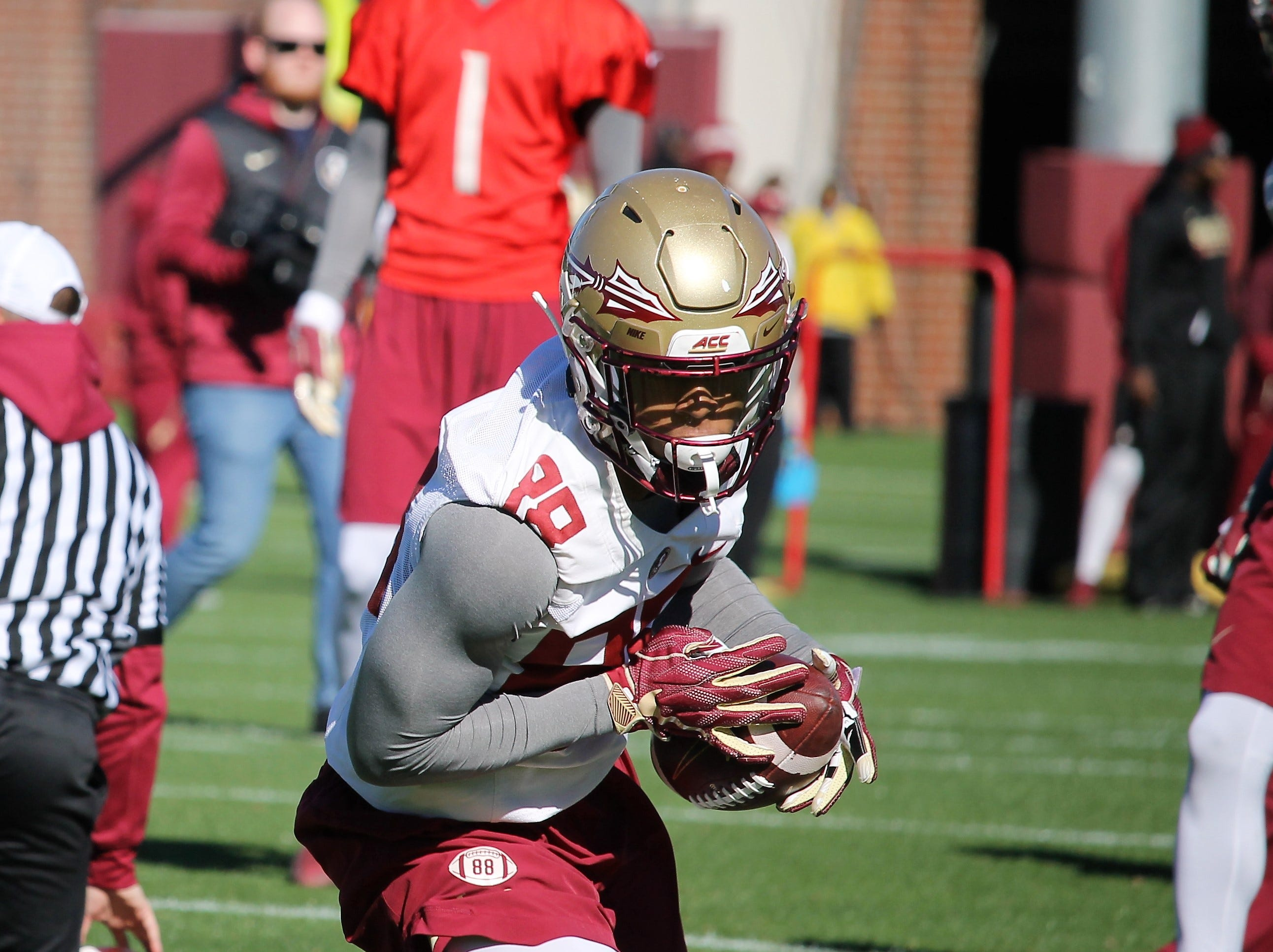 Wide receiver Tre'Shaun Harrison at FSU football practice on March 6, 2019.