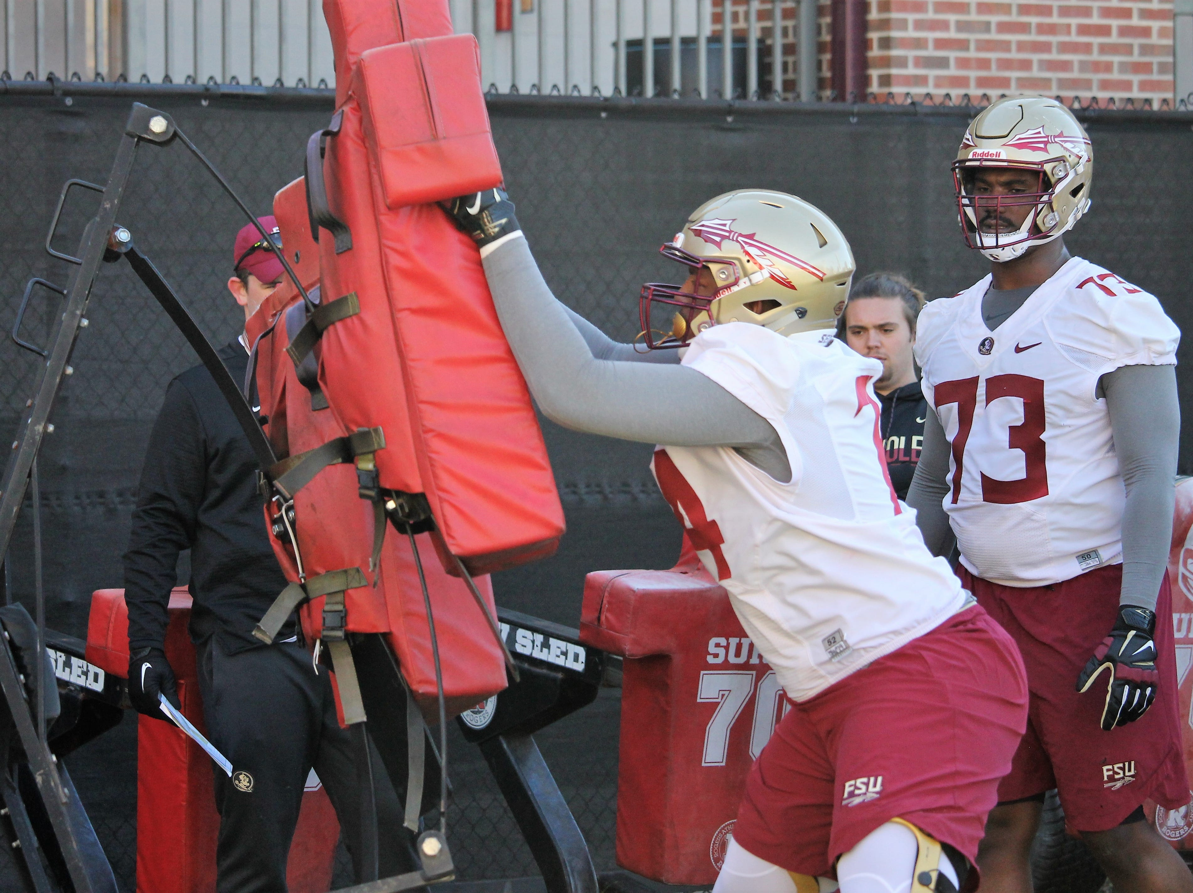 Offensive tackle Jay Williams at FSU football practice on March 6, 2019.