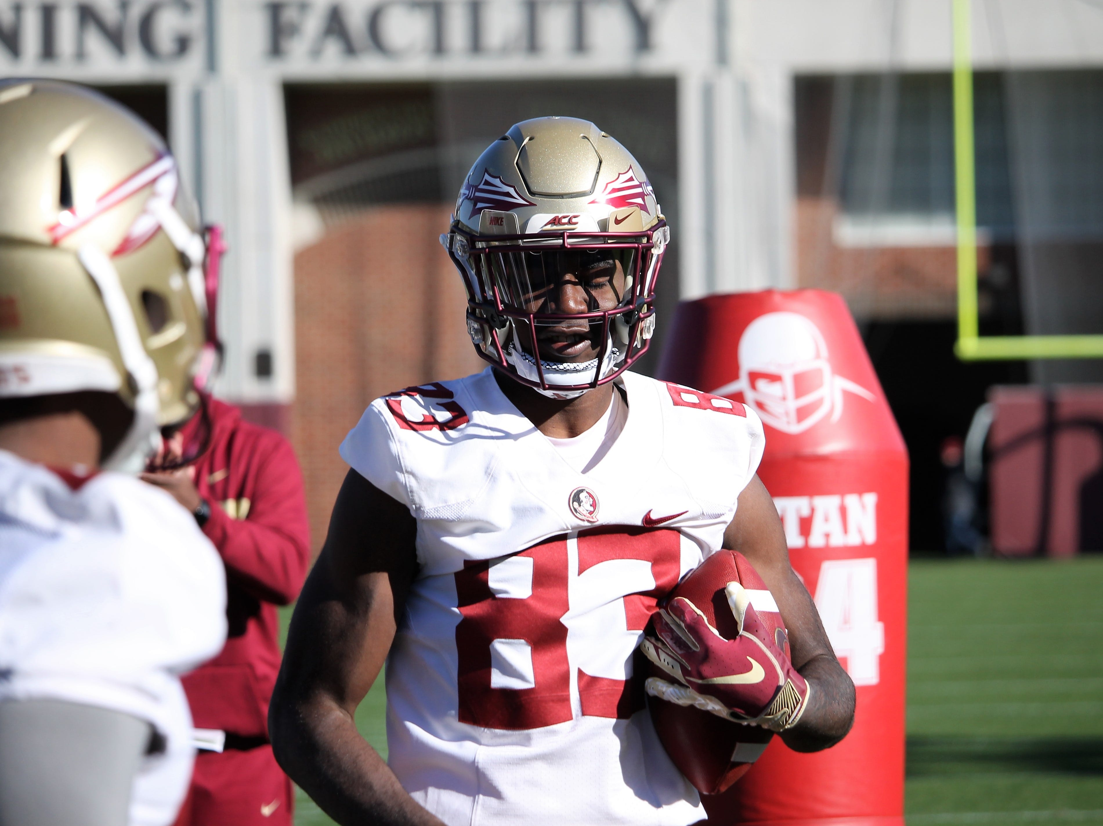 Wide receiver Jordan Young at FSU football practice on March 6, 2019.