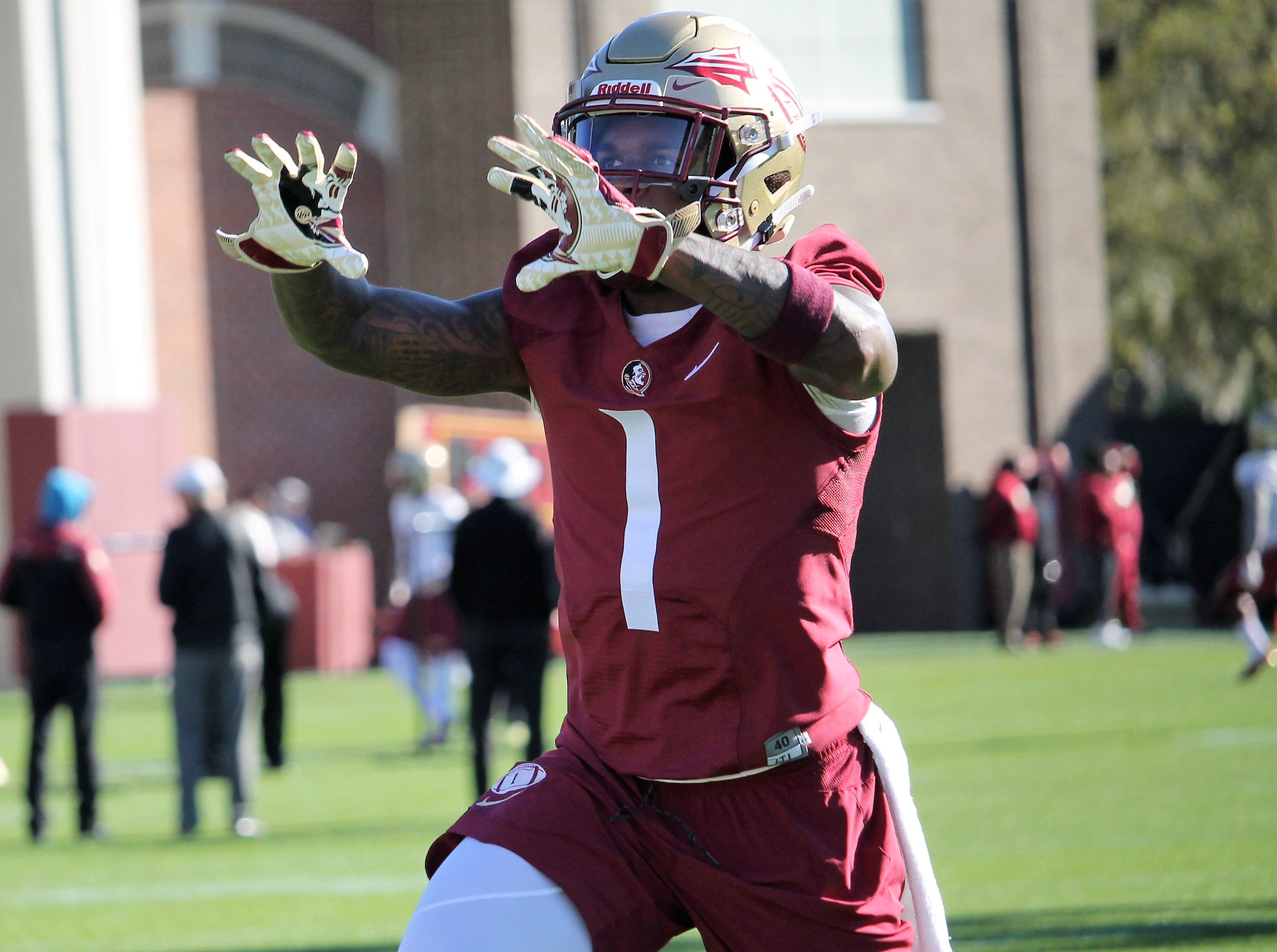 Safety Levonta Taylor at FSU football practice on March 6, 2019.