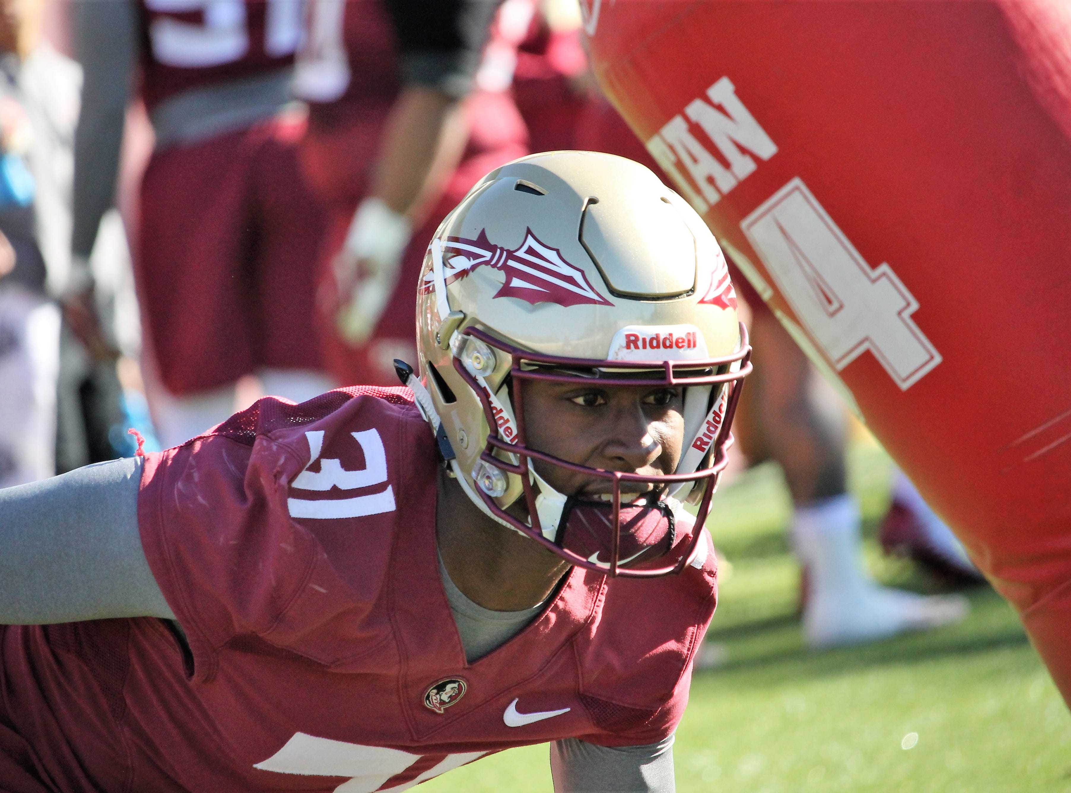 Safety Raymond Woodie III at FSU football practice on March 6, 2019.