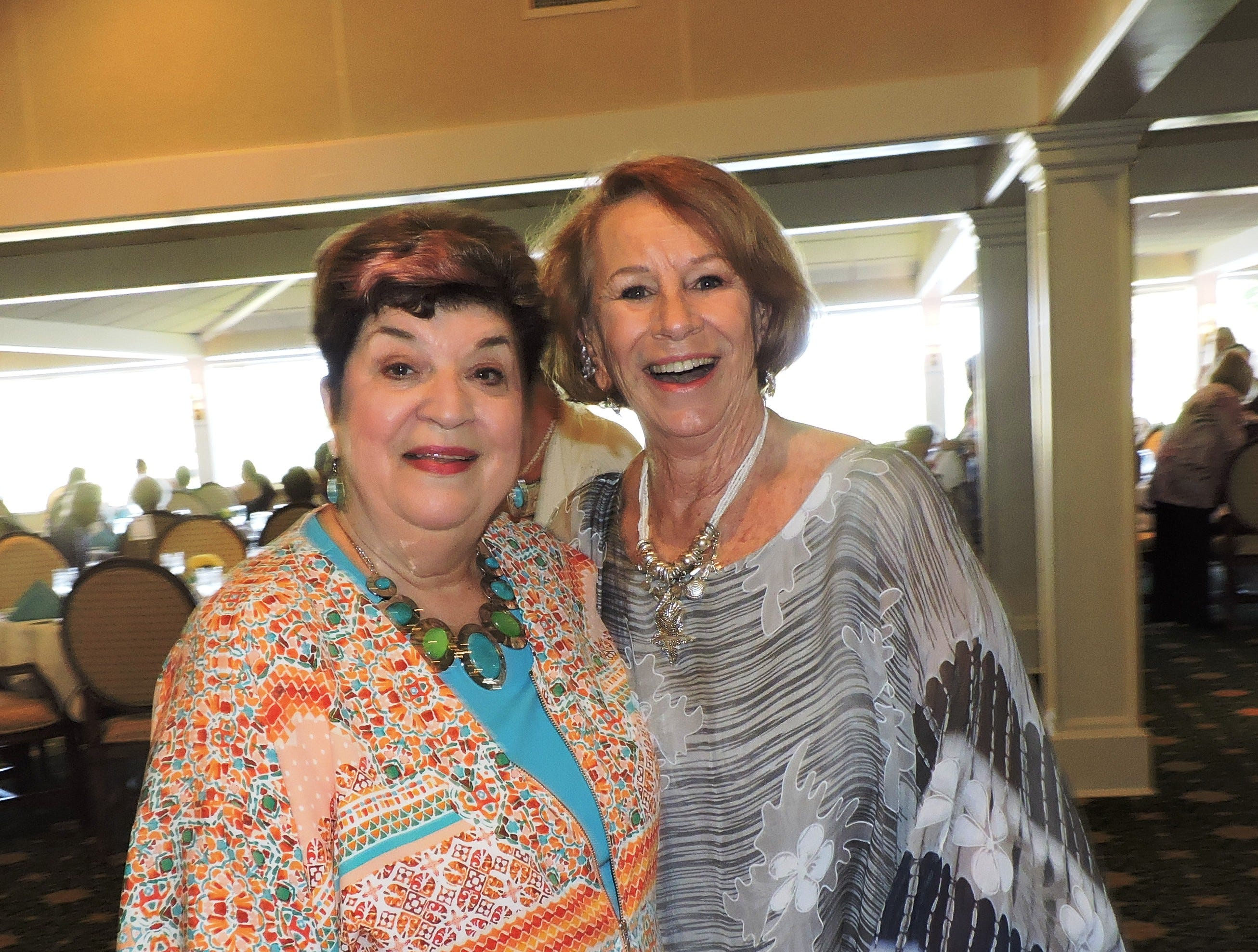 Phyllis Thompson, left, and Gayle Brinly at Woman's Club of Stuart annual Food, Friends and Fashion Show.