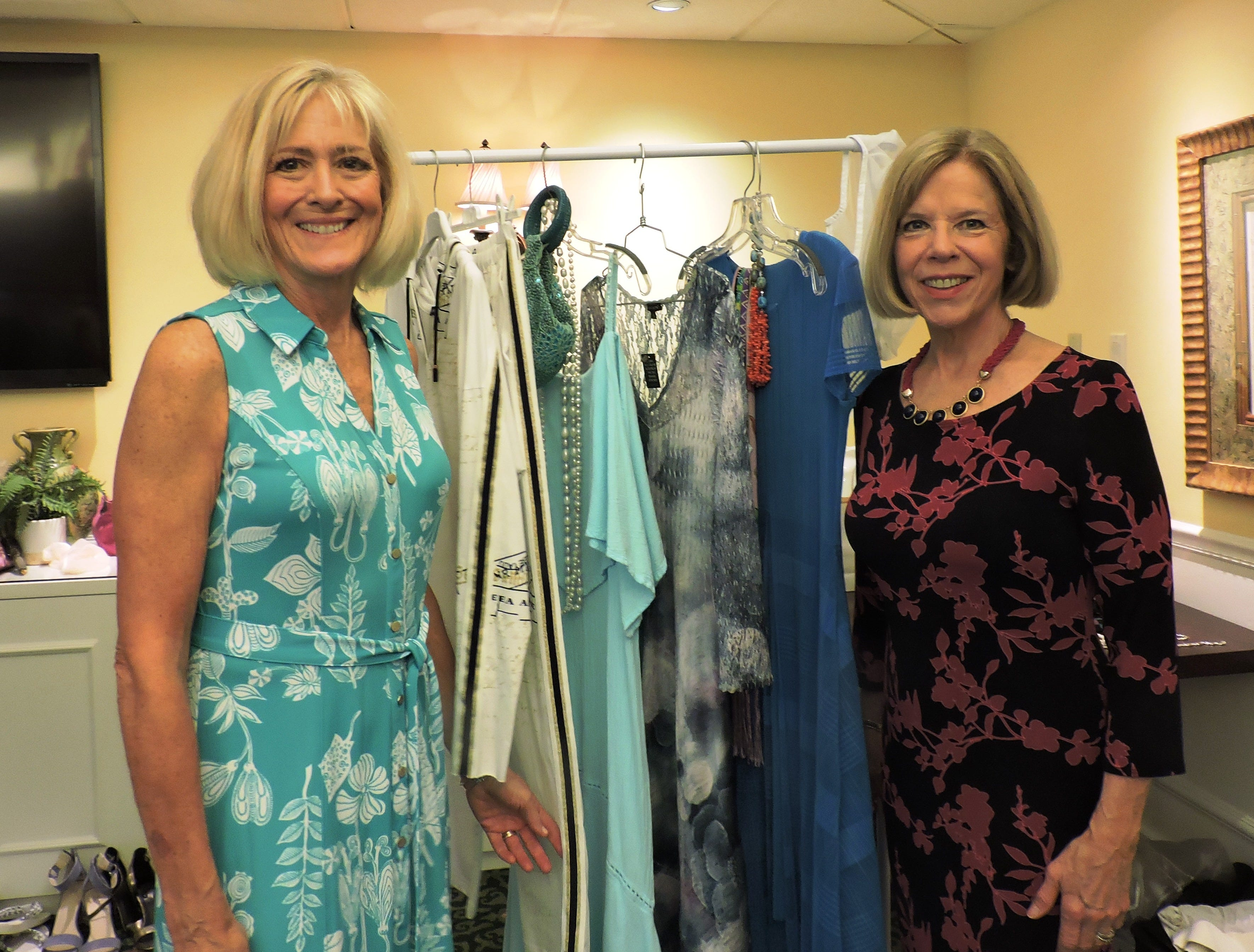 Co-emcees Patty Snodgrass, left, and Mona Salisbury at Woman's Club of Stuart annual Food, Friends and Fashion Show.