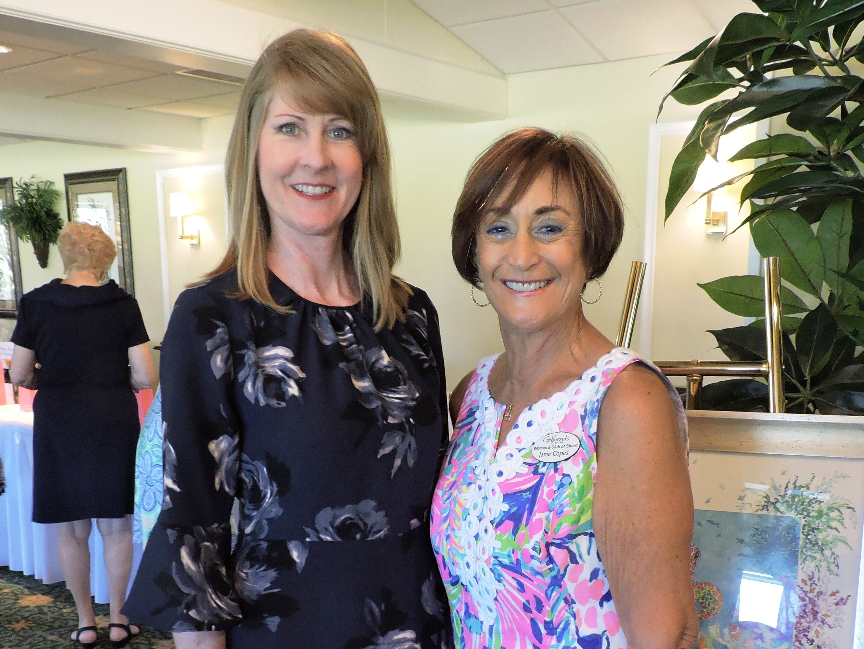Luncheon co-chairs Tonya Axton, left, and Janie Copes at Woman's Club of Stuart annual Food, Friends and Fashion Show Feb. 23 at Mariner Sands Country Club in Stuart