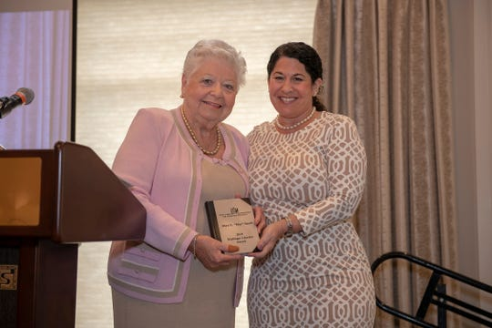 May Smyth, left, and Library Foundation President Stacy Ranieri at the Kiplinger Literacy Award at Harbour Ridge Yacht & Country Club in Palm City.
