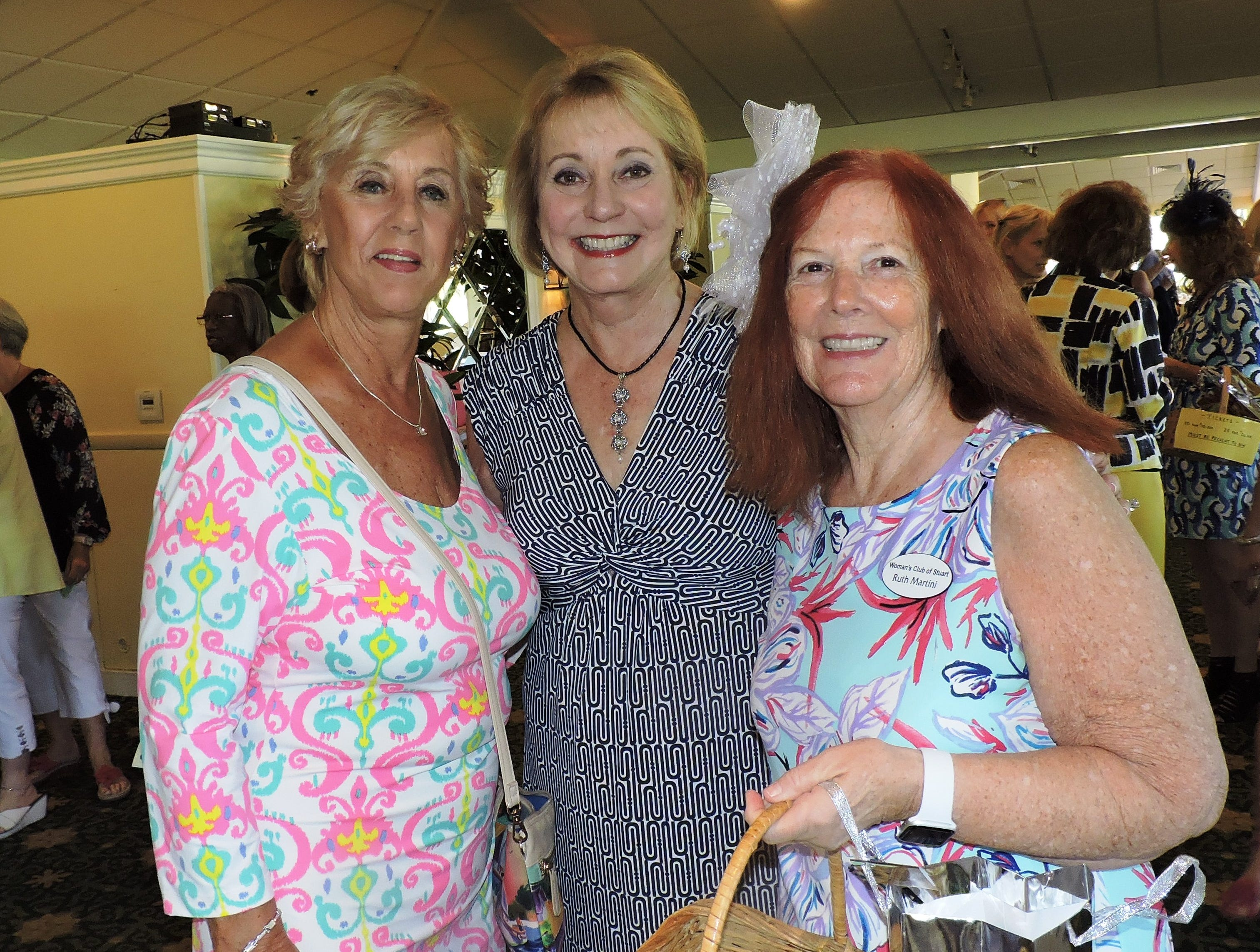 Ginny Polkon, left, Kathryn Schmidt and Ruth Martini at Woman's Club of Stuart's annual Food, Friends and Fashion Show.