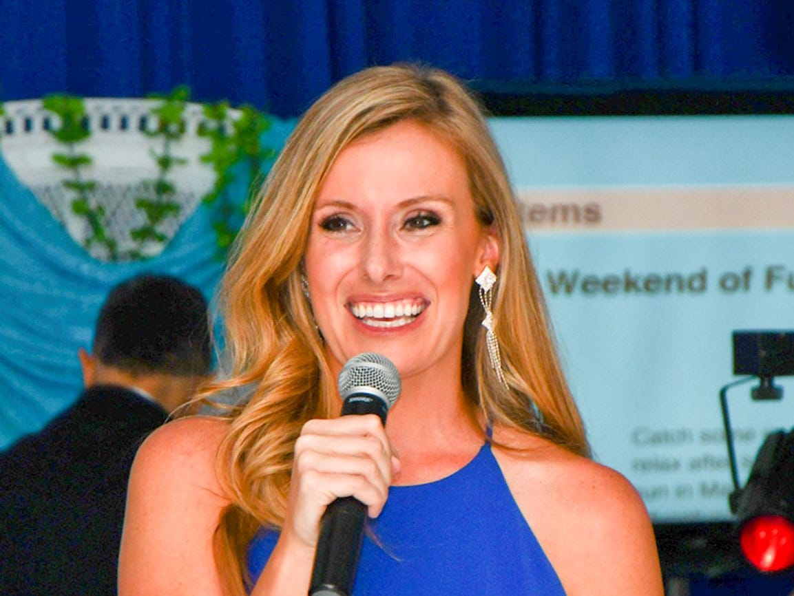 WPTV/WFLX reporter Meghan McRoberts is all smiles as she emcees the gala for the Humane Society of the Treasure Coast.