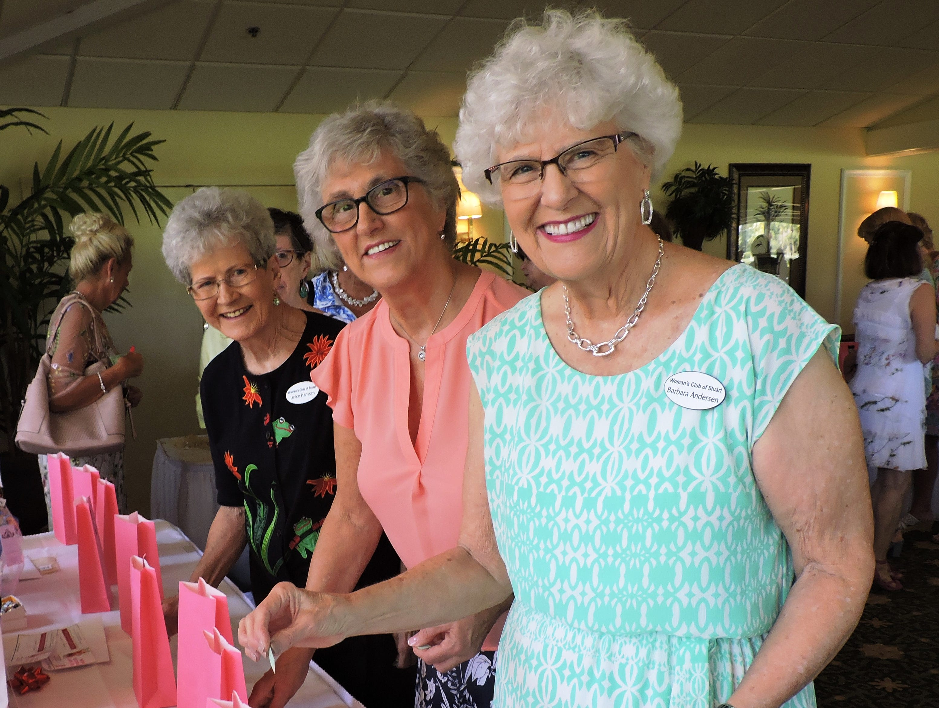 Janice Hanssen, left, Carolyn Pietsch and Barbara Anderson at the Woman's Club of Stuart annual Food, Friends and Fashion Show.