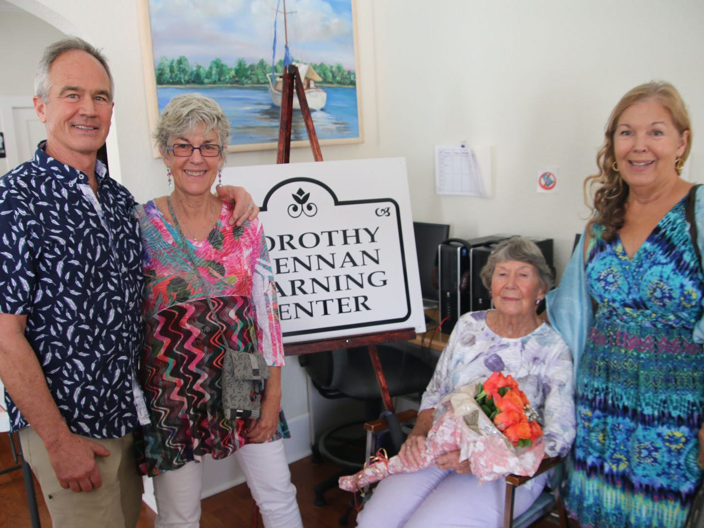Dorothy Brennan, seated, with Tom, Connie and Judith Brennan at the open house celebrating the new Dorothy Brennan Learning Center in Fort Pierce.