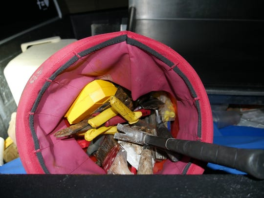Hand tools were found in the bed of a pickup parked near the scene of an attempted burglary in Port St. Lucie early Tuesday, March 5, 2019.