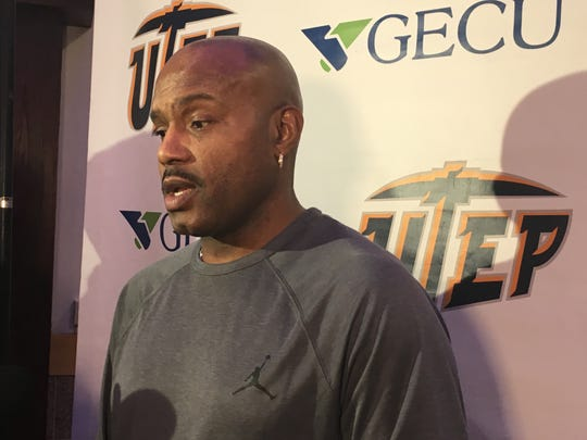 UTEP basketball legend Tim Hardaway speaks to reporters after flying in fro Detroit to attend the Miners' Wednesday game against Middle Tennessee