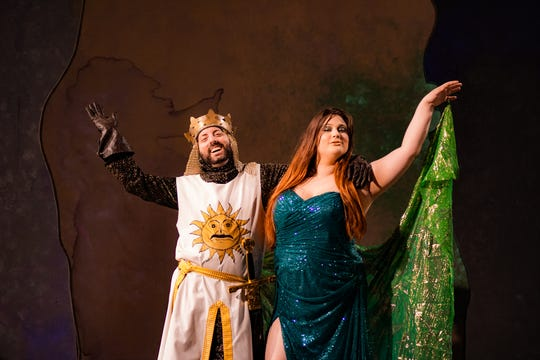 "Pi McAuliff, left, plays Arthur and Evelyn Rose plays the Lady of the Lake in the Moorpark College production of Monty Python's ""SPAMalot,"" which runs through March 24."