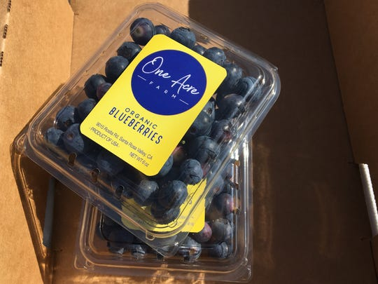 Organic blueberries from One Acre Farm near Camarillo can be ordered for pickup on Mondays, Wednesdays and Saturdays. They are sold by the half flat (six 6-ounce clamshells for $21) and full flat ($38.50).
