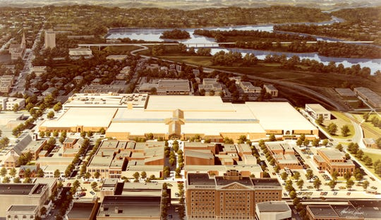 The plans for the Wausau Center mall show the building, not far from the Wisconsin River, spanning eight city blocks. It was the anchor to a main thoroughfare leading into the center of downtown.