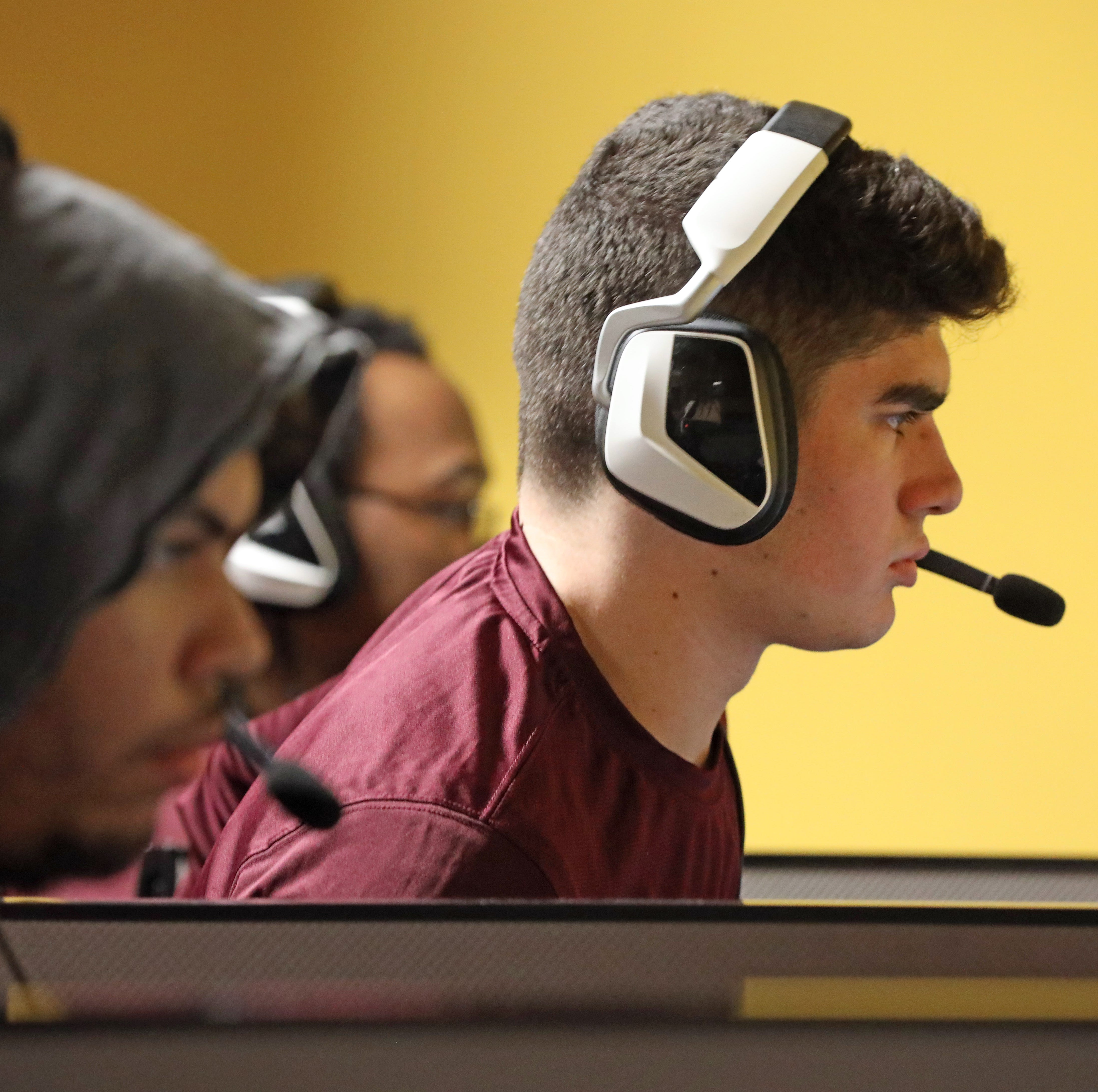 Sean Russo, a sophomore therapeutic recreation major competes against Southern New Hampshire in League of Legends eSports competition at St. Thomas Aquinas March 1, 2019.