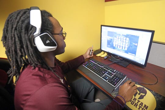 A junior business management major, Sidney Reeves competes against Southern New Hampshire in League of Legends eSports competition at St. Thomas Aquinas March 1, 2019.