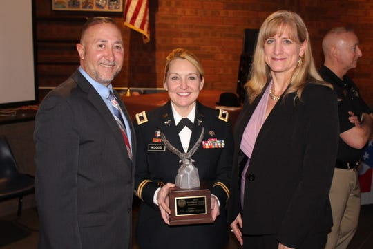 Deputy County Executive Guillermo Rosa and the County's Veterans Service Agency Director Susan Branam presented Rockland's annual Freedom Award to Army Col. Angela Woods