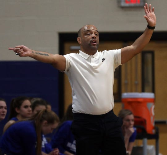 Haldane's coach Tyrone Searight during girls basketball regional semifinals at Mount Saint Mary College in Newburgh March 5, 2019. Millbrook defeats Haldane 60-44.