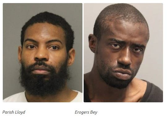 Parish Lloyd, 37, left, and Erogers Bey, 39, were charged in a home invasion and robbery and the shooting of the homeowner on Feb. 21, police said.