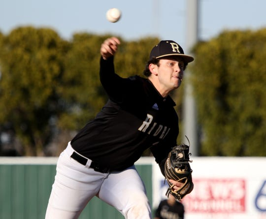 Rider's Maverick Folmar pitches against Abilene Cooper Tuesday, March 5, 2019, at Hoskins Field.