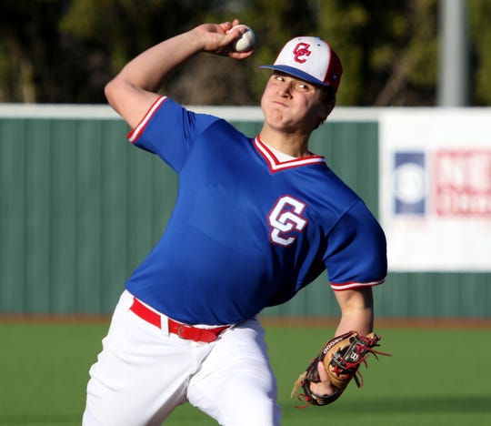 Cooper's Braiden Hill pitches against Wichita Falls Rider on Tuesday, March 5, 2019, at Hoskins Field in Wichita Falls. Cooper won the District 4-5A opener 4-1 as Hill tossed a one-hitter.
