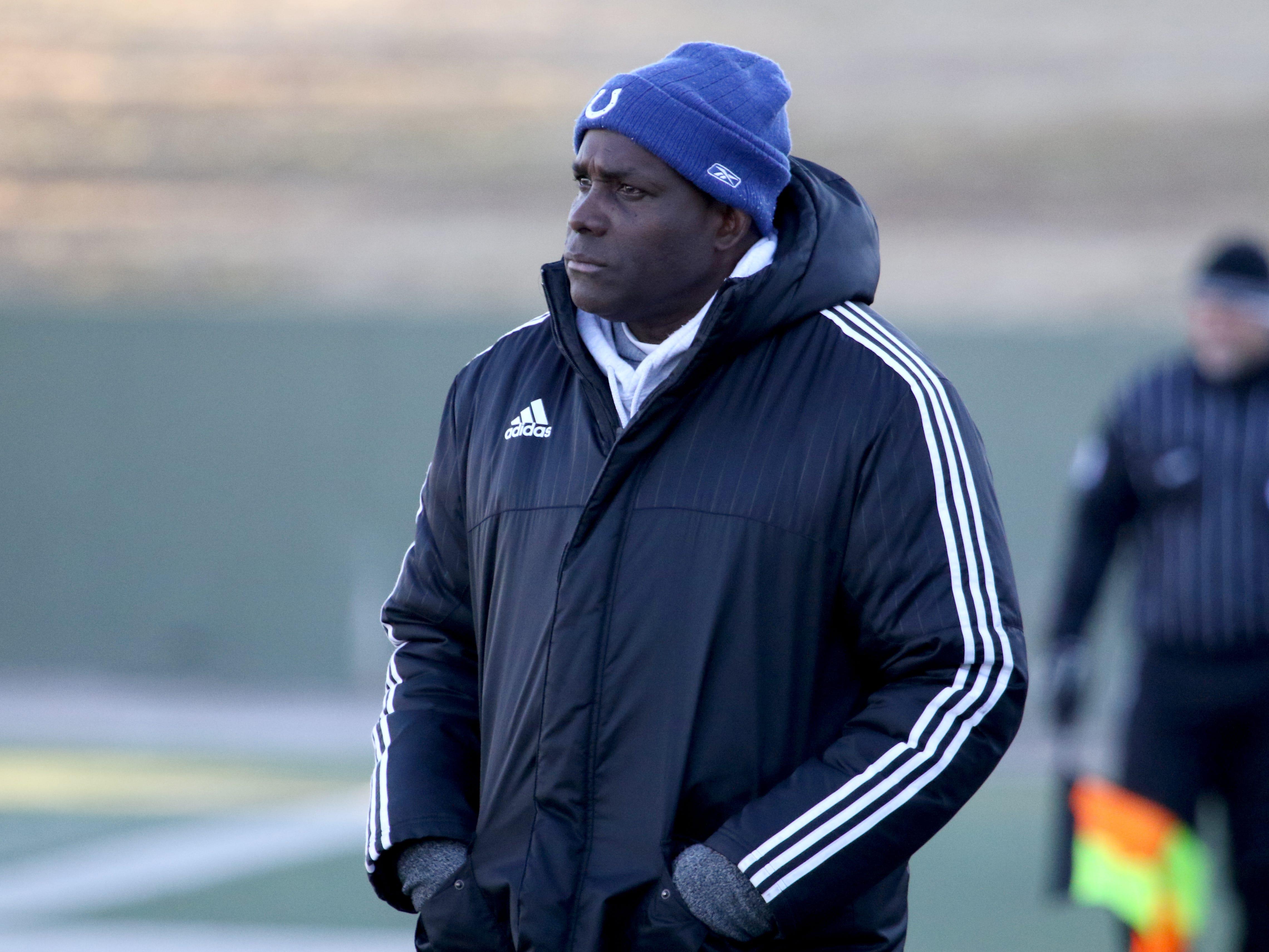 Hirschi head soccer coach Alston Calliste watches the match against Graham Tuesday, March 5, 2019, at Memorial Stadium.