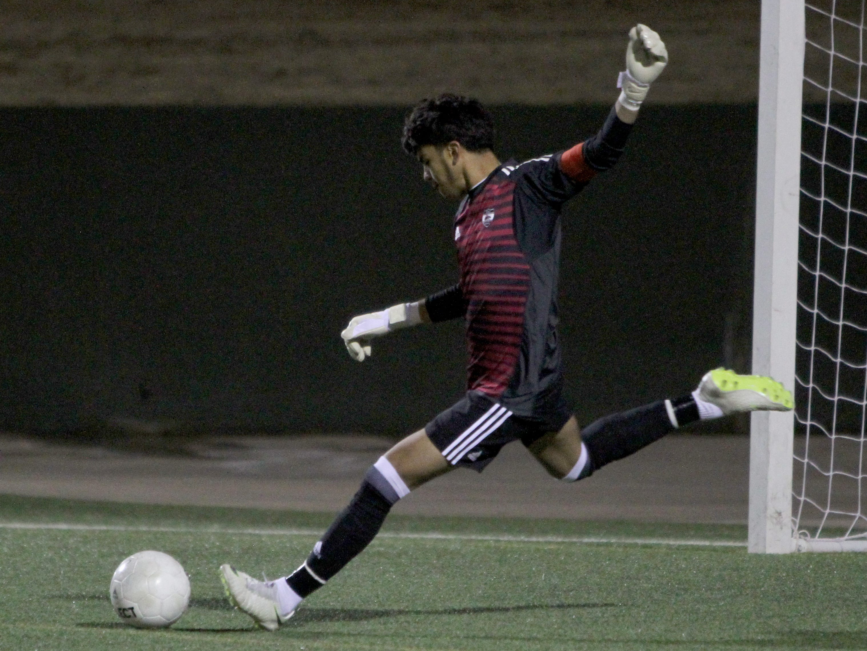 Wichita Falls High School's Israel Gonzalez takes a goal kick in the match against Aledo Tuesday, March 5, 2019, at Memorial Stadium.