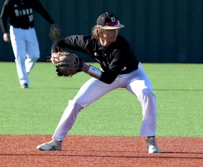 Rider's Ranse Radtke throws to second for the out against Abilene Cooper Tuesday, March 5, 2019, at Hoskins Field.
